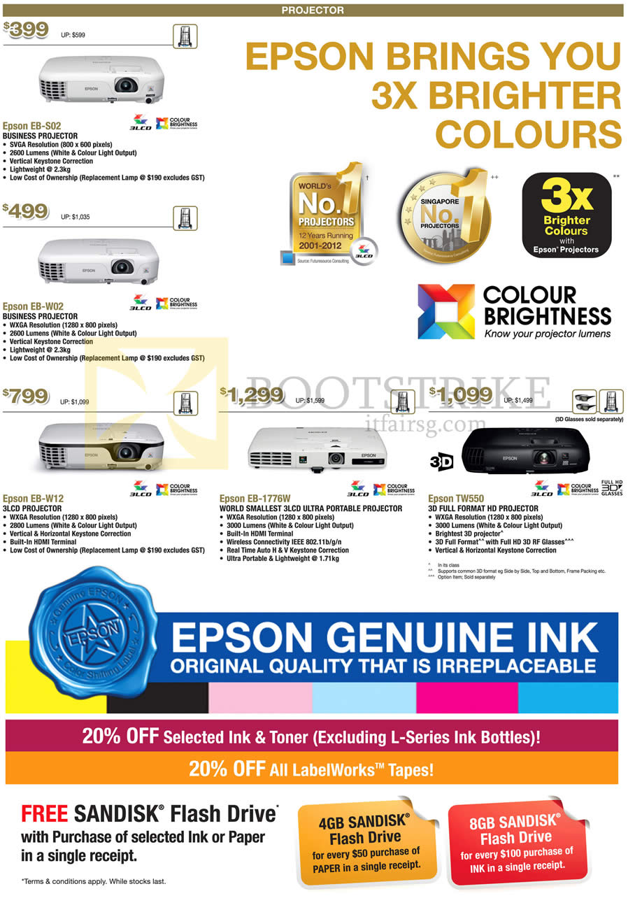 COMEX 2013 price list image brochure of Epson Projectors EB-S02, EB-W02, EB-W12, EB-1776W, TW550