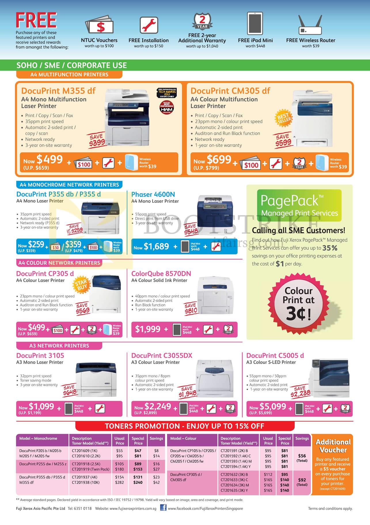 Fuji Xerox Printers Laser S-LED DocuPrint M355 Df, CM305 Df, P355 Db