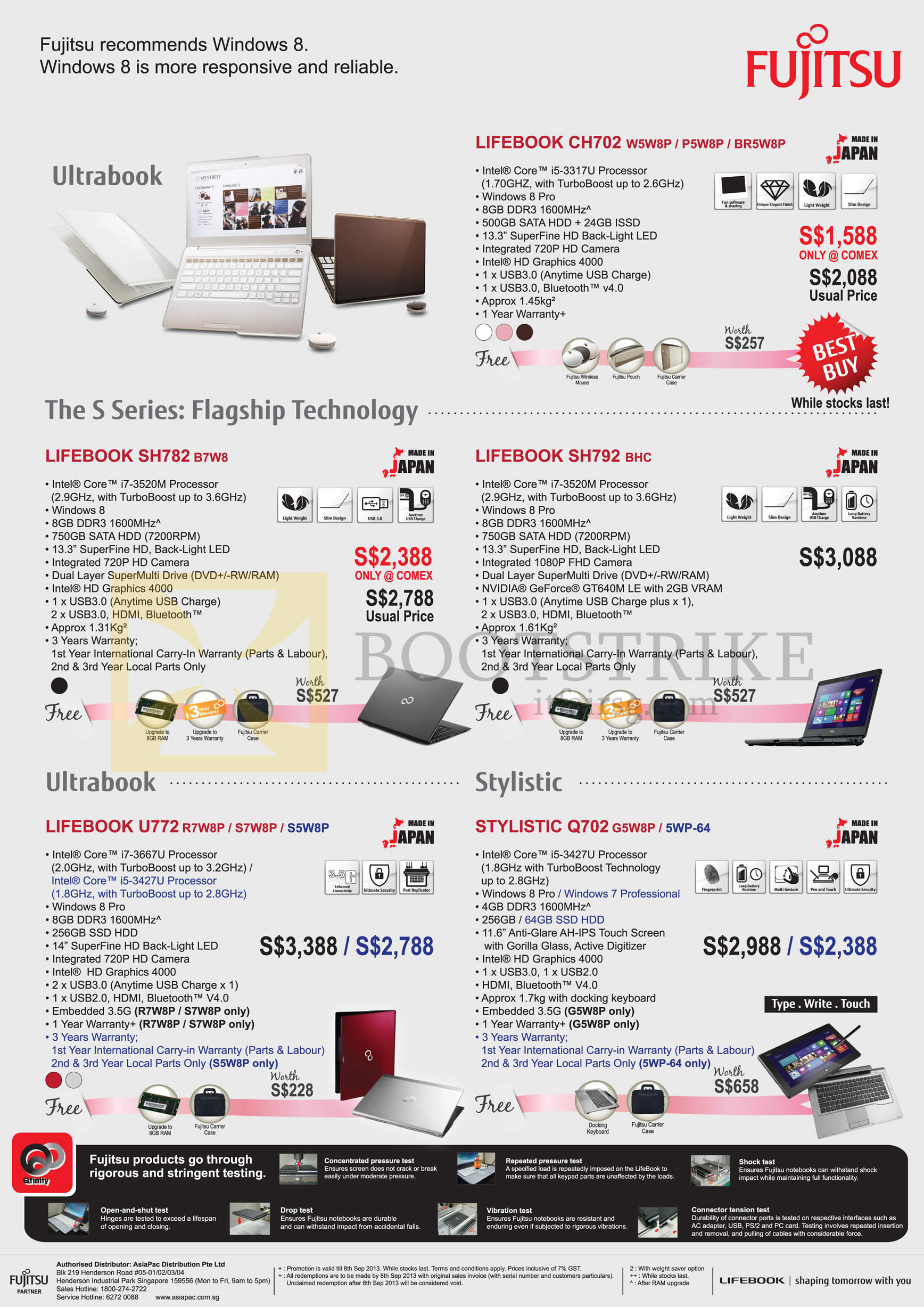 COMEX 2013 price list image brochure of Fujitsu Newstead Notebooks Lifebook CH702 W5W8p P5W8p BR5W8p, SH782 B7W8, SH792 BHC, U772 R7W8P S7W8P S5W8P, Stylistic Q702 G5W8P 5WP-64