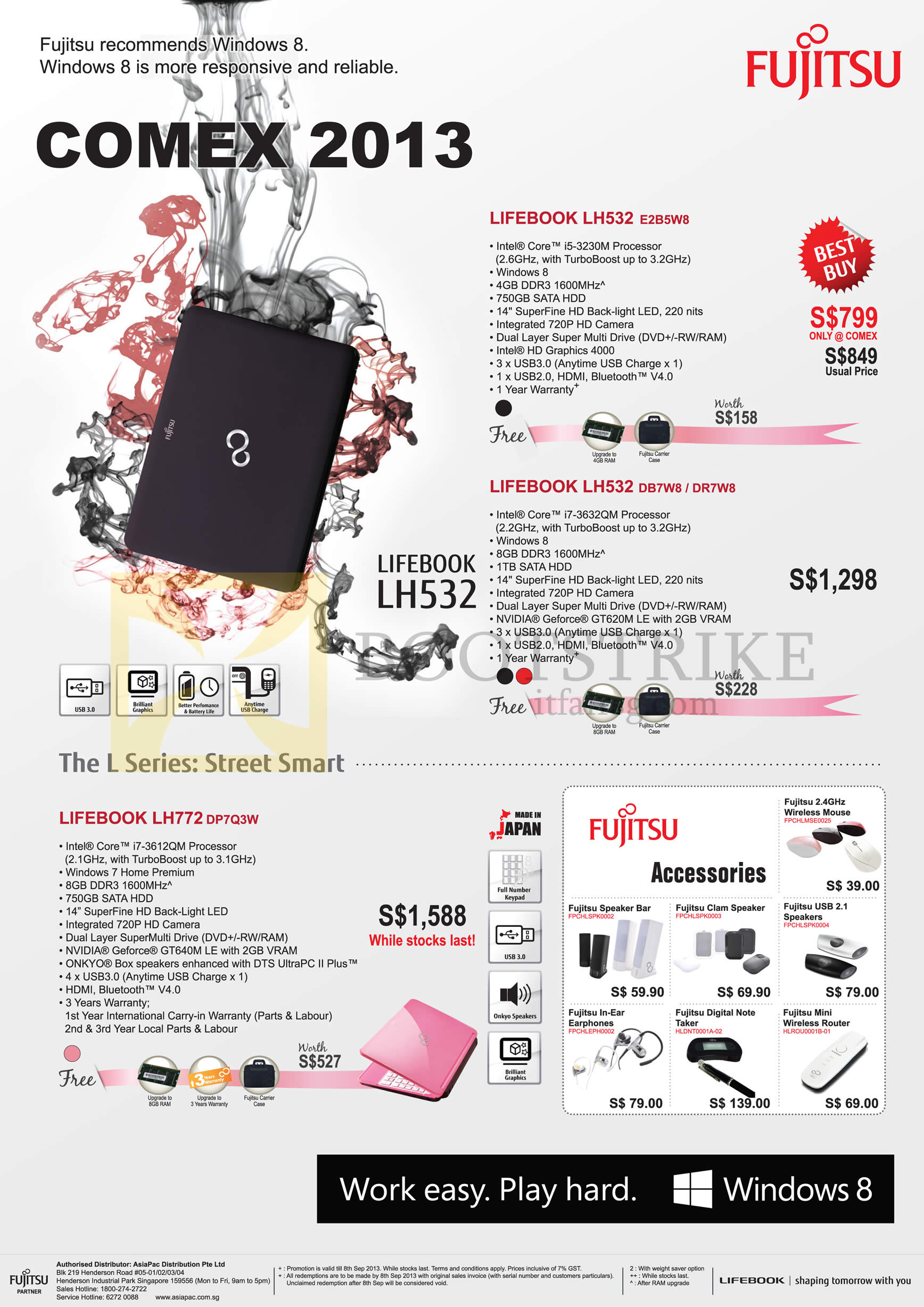 COMEX 2013 price list image brochure of Fujitsu Newstead Notebooks Lifebook LH532 E2B5W8 DB7W8 DR7W8, LH772 DP7Q3W