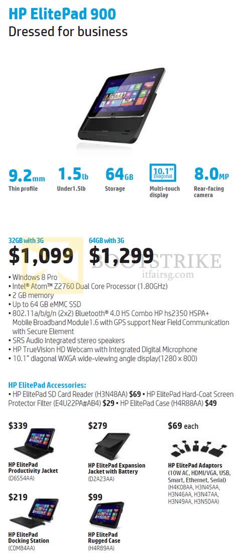 COMEX 2013 price list image brochure of HP Tablet ElitePad 900 Tablet 32GB, 64GB, Accessories