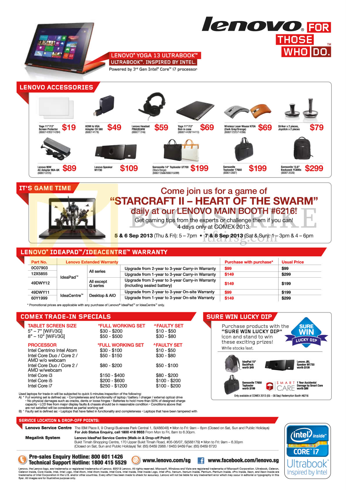 COMEX 2013 price list image brochure of Lenovo Accessories, Mouse, Speakers, Bags, Starcraft II, Warranty, Trade-In