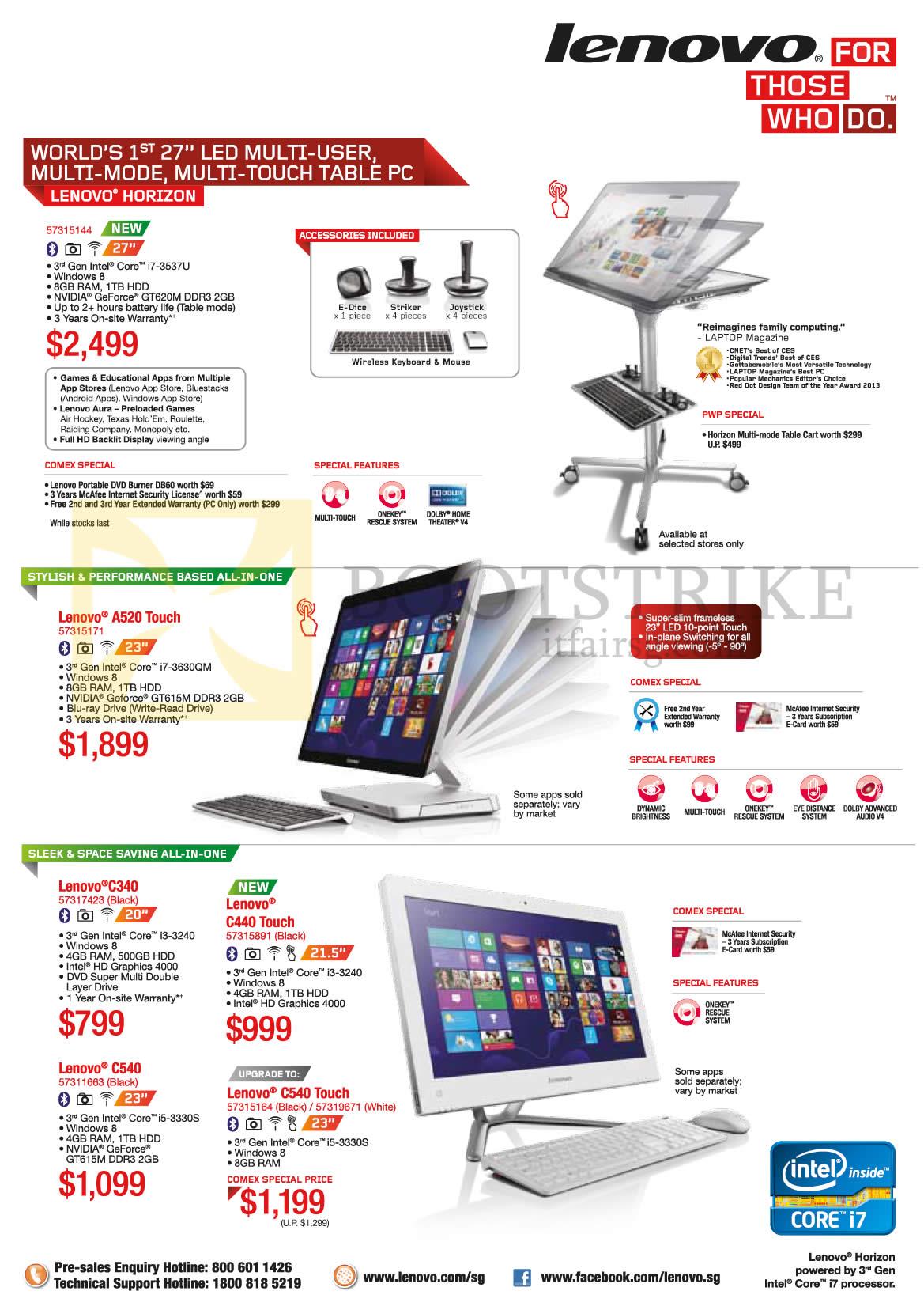 COMEX 2013 price list image brochure of Lenovo Desktop PC AIO Horizon, A520 Touch, C340, C440 Touch, C540