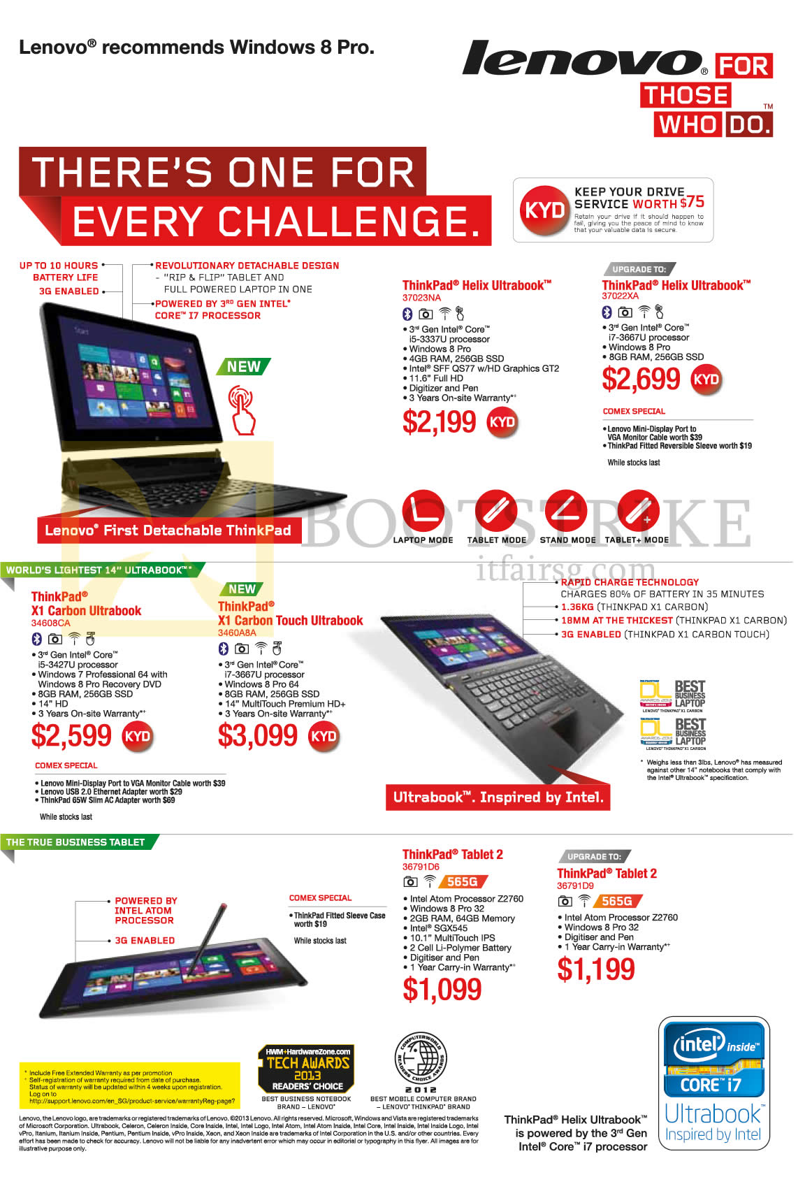 COMEX 2013 price list image brochure of Lenovo Notebooks Helix X1 Carbon, Touch, Tablet 2