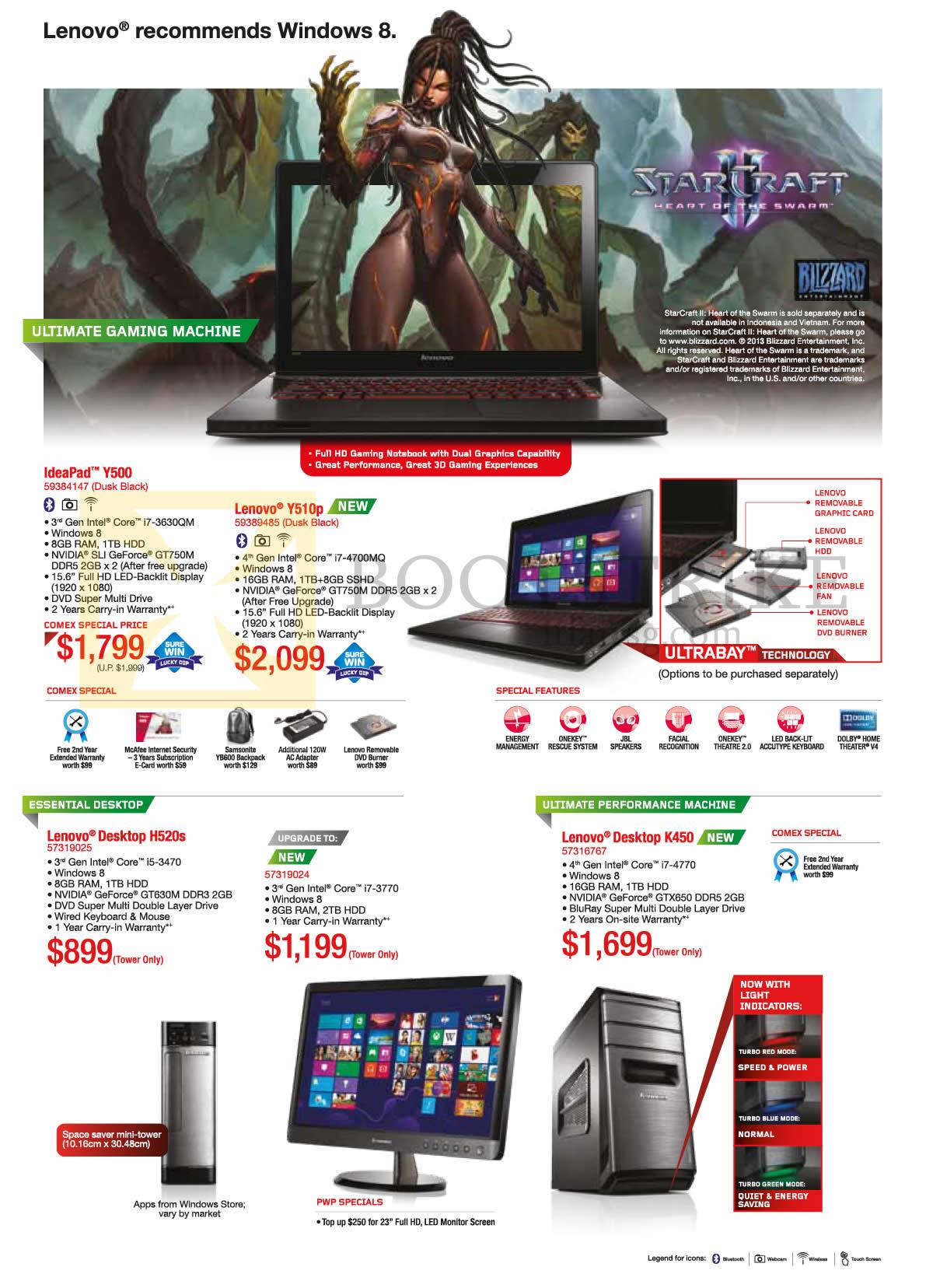 COMEX 2013 price list image brochure of Lenovo Notebooks Ideapad Y500, Y510p, Desktop PC H520s, K450