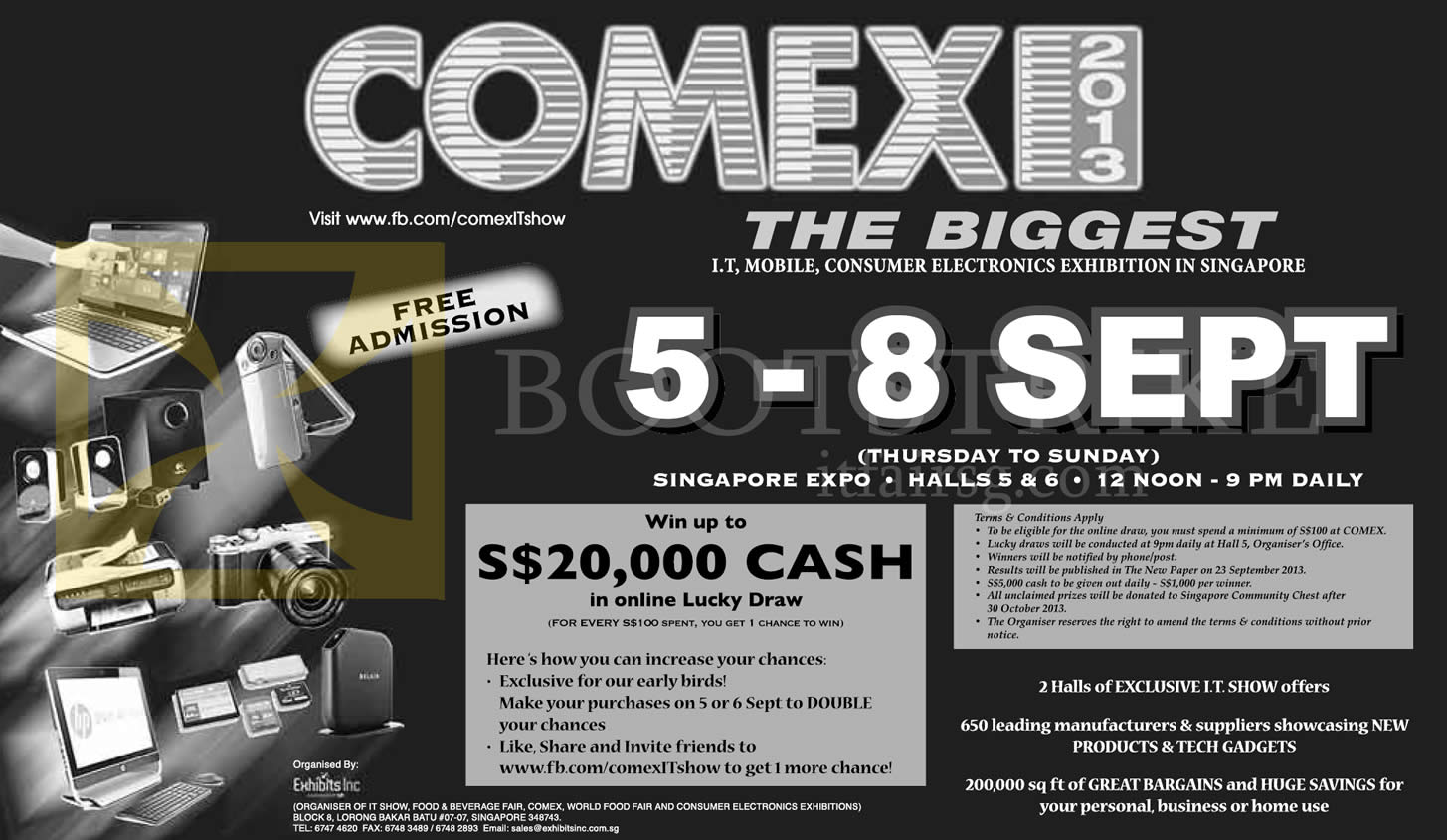 COMEX 2013 price list image brochure of Lucky Draw Prizes, Eligibility, Terms, Conditions