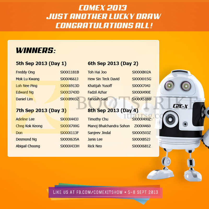 COMEX 2013 price list image brochure of Lucky Draw Results Winners