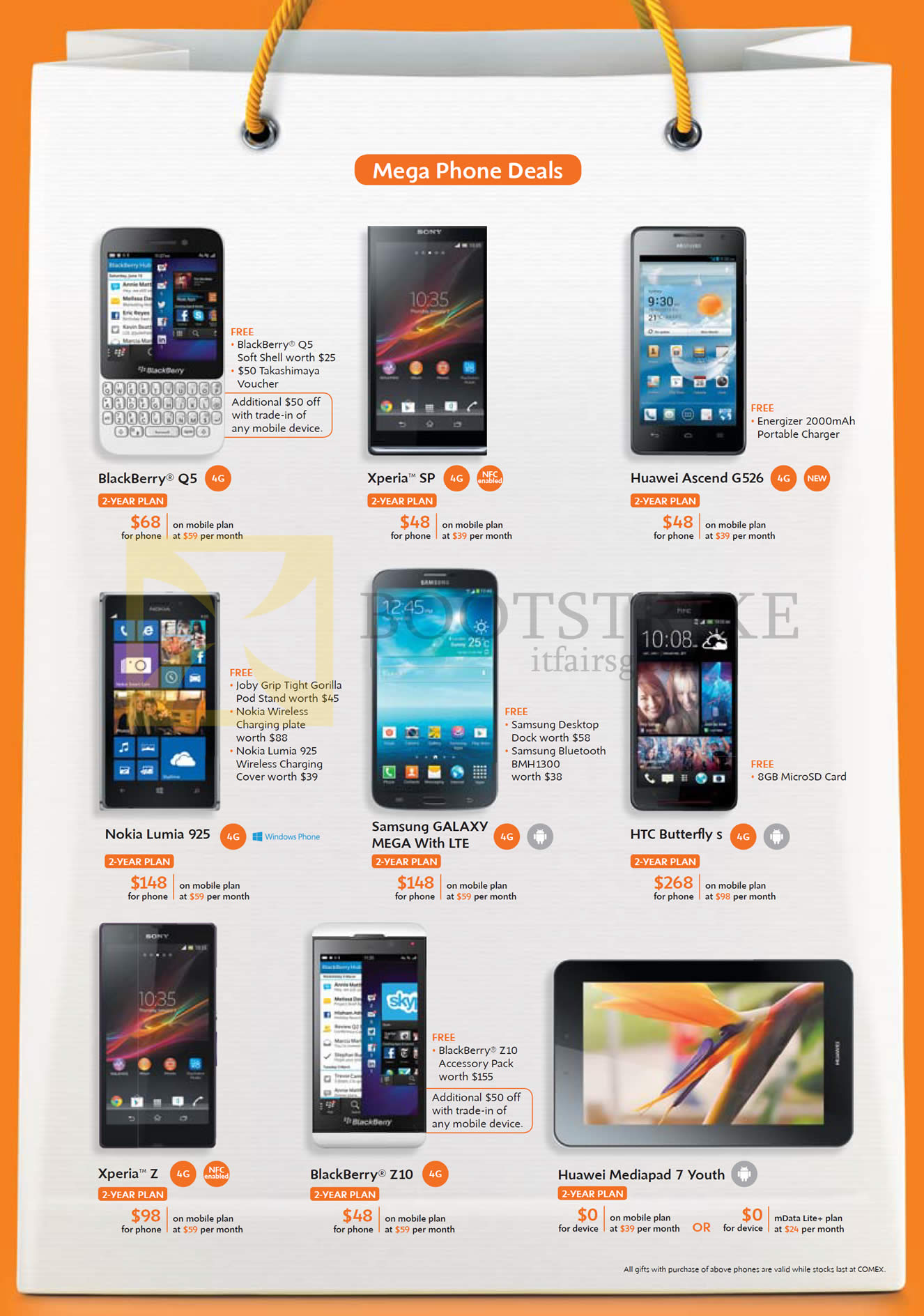 COMEX 2013 Price List Image Brochure Of M1 Mobile Blackberry Q5 Z10 Sony Xperia