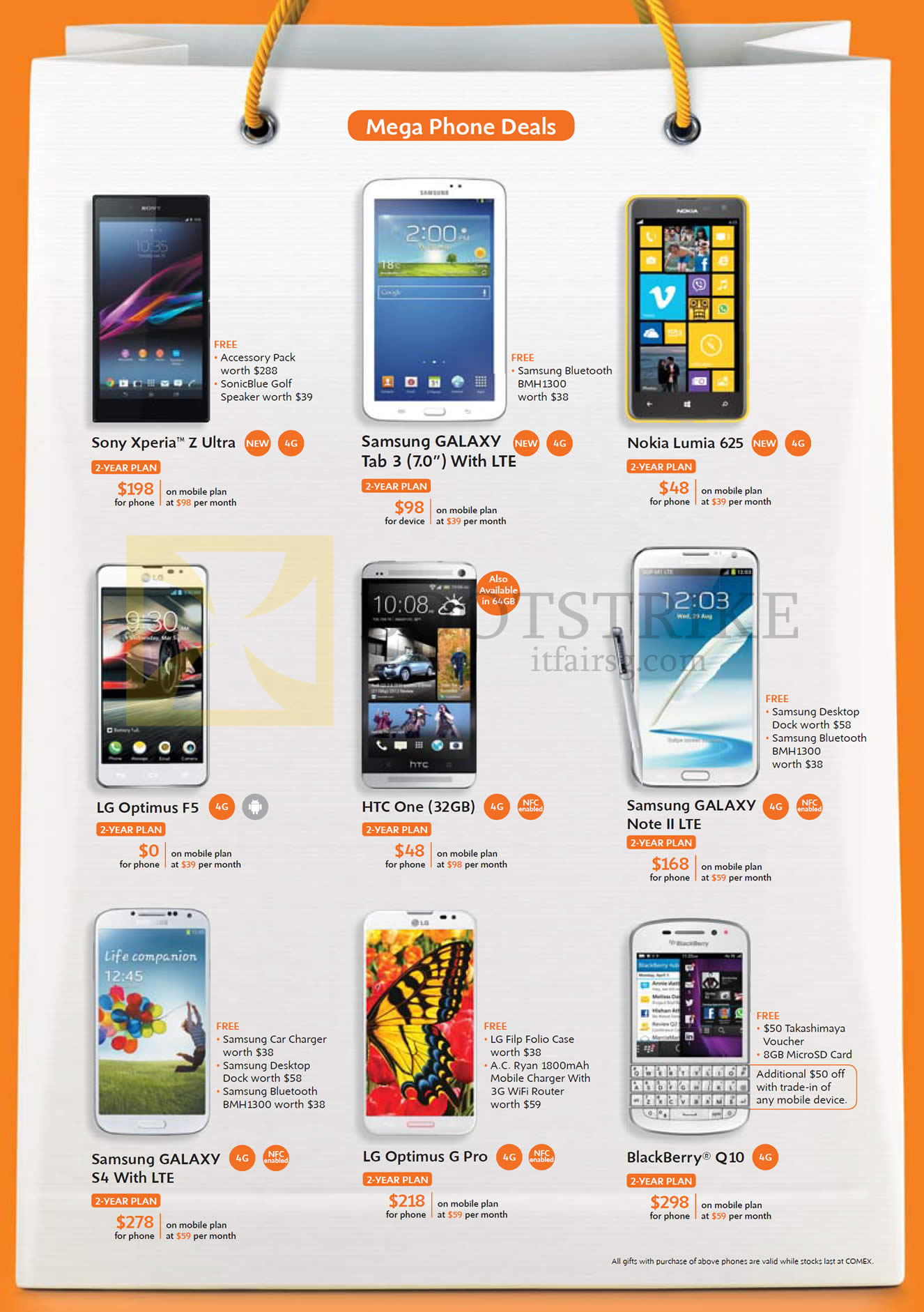 COMEX 2013 price list image brochure of M1 Mobile Sony Xperia Z Ultra, Samsung Galaxy Tab 3 7.0, Note II LTE, S4, LG Optimus G Pro, F5, Nokia Lumia 625, HTC One, Blackberry Q10