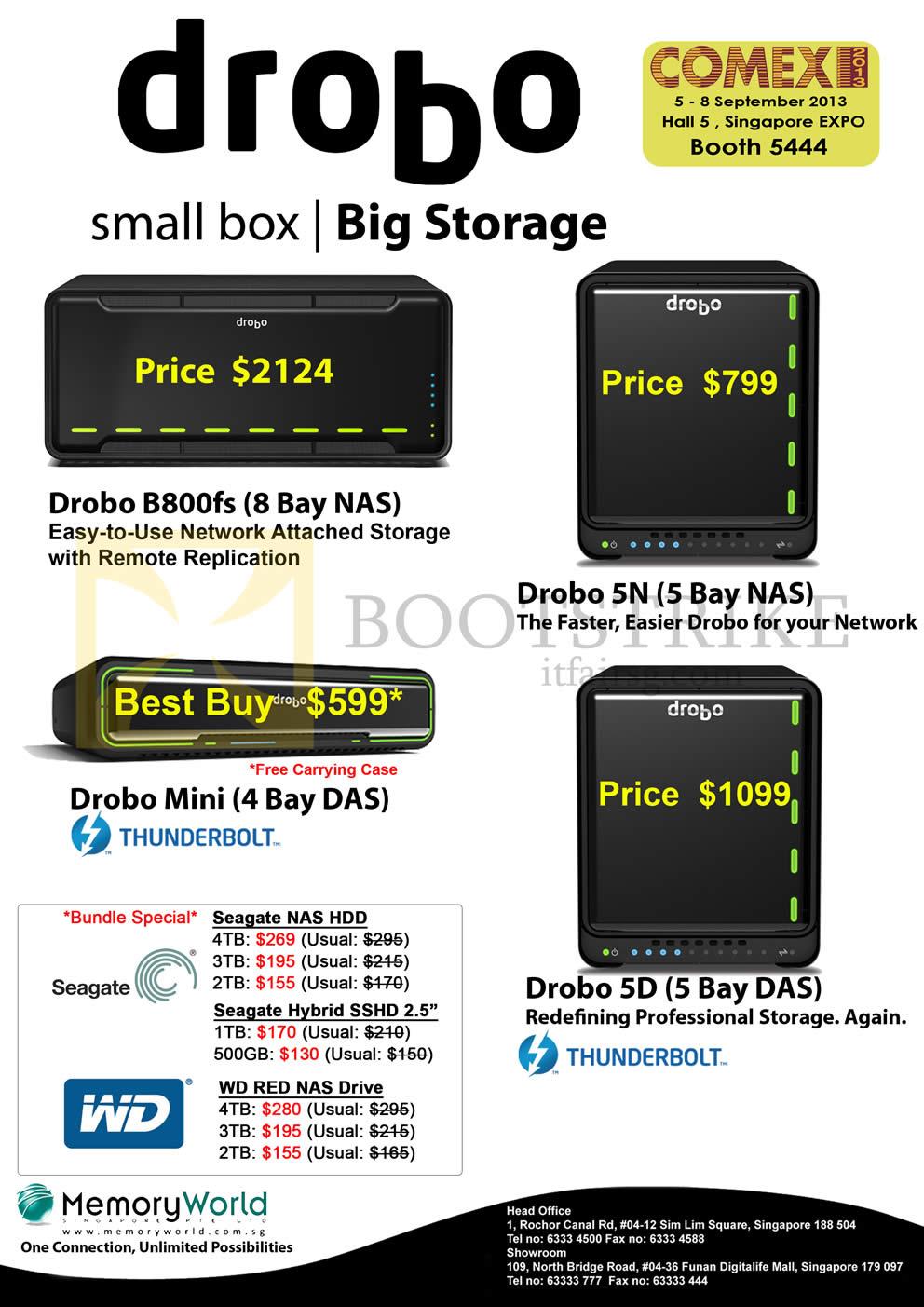 COMEX 2013 price list image brochure of Memory World Drobo NAS B800fs, 5N, Mini, 5D