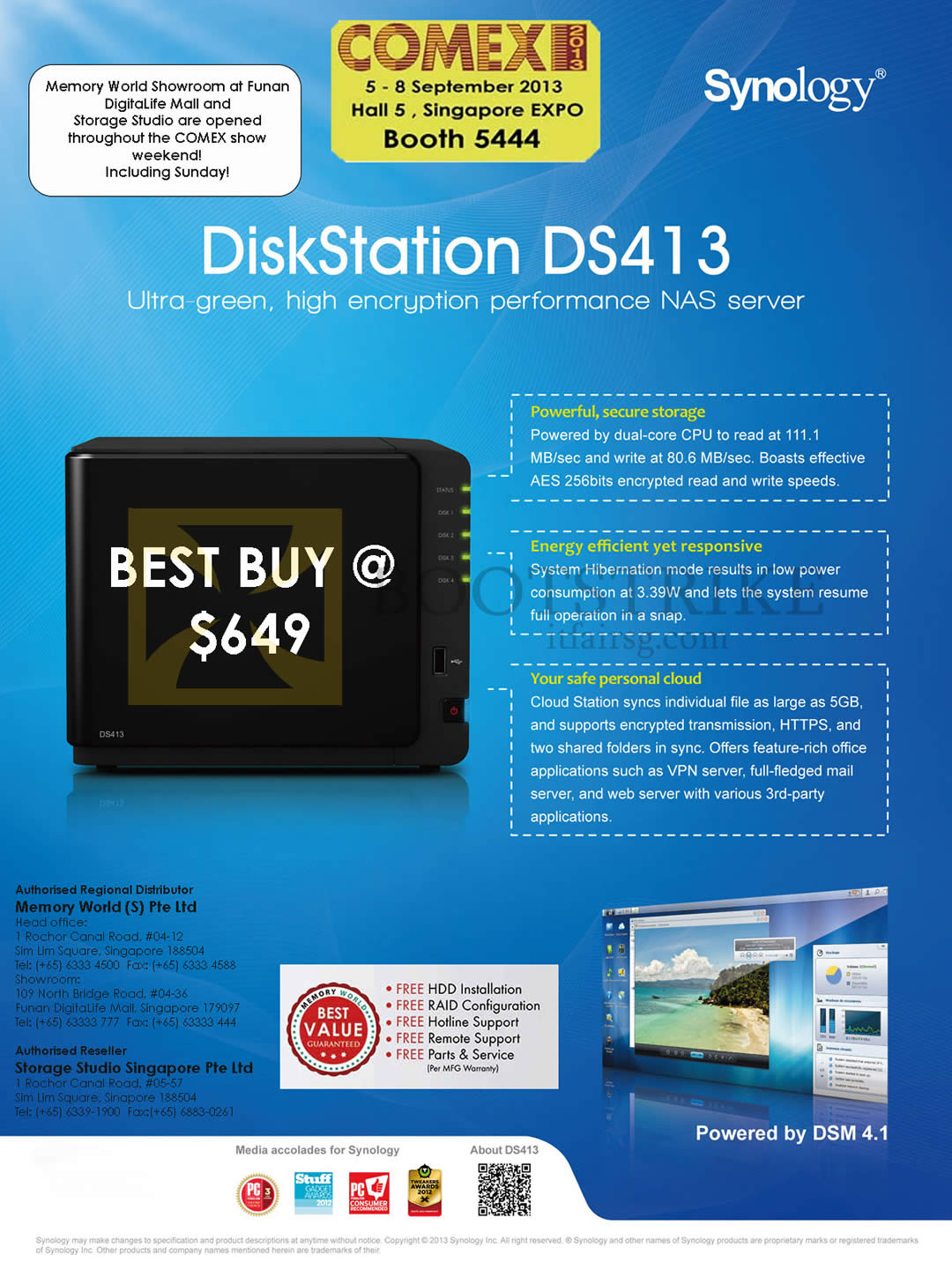 COMEX 2013 price list image brochure of Memory World Synology NAS DiskStation DS413