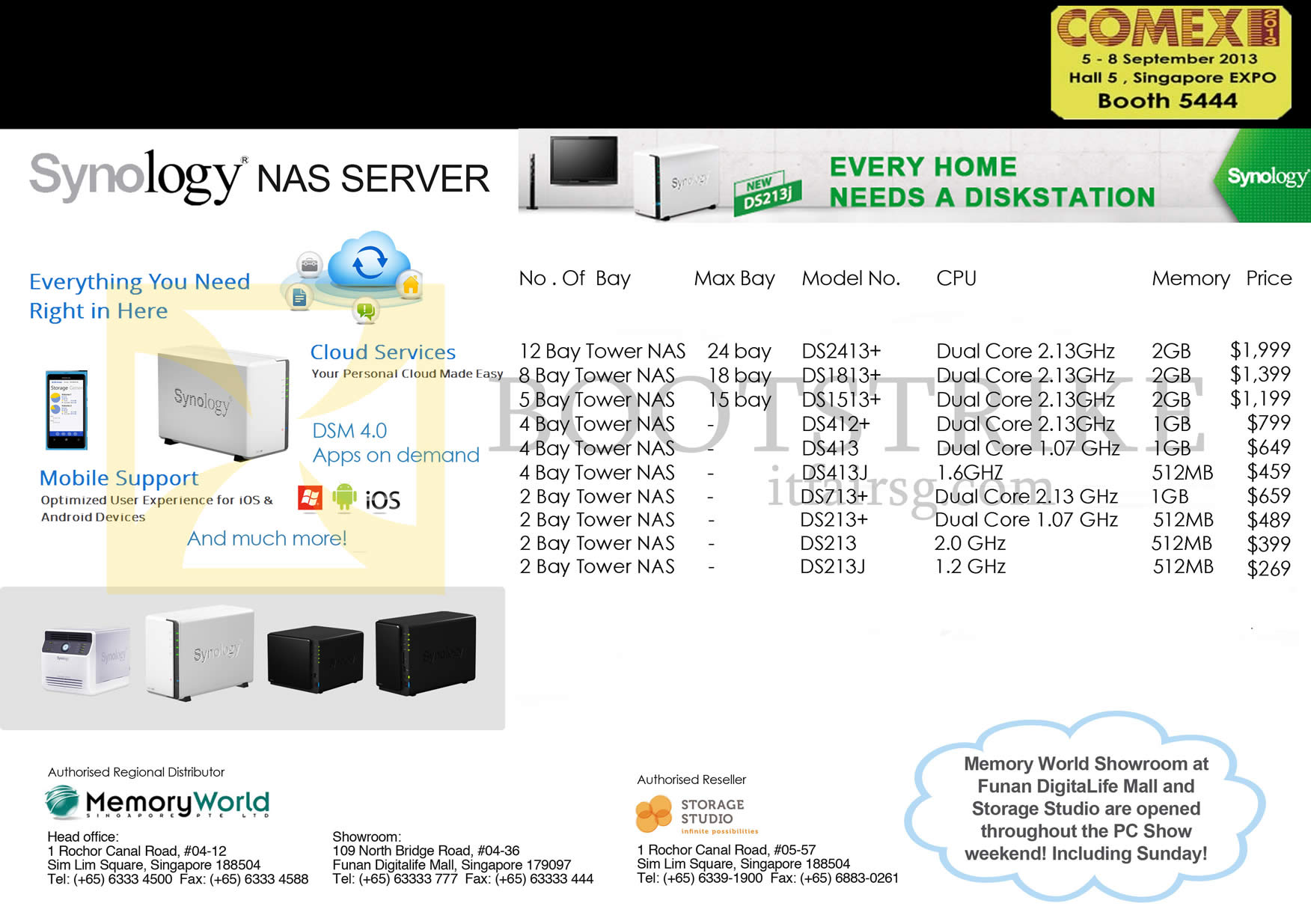 COMEX 2013 price list image brochure of Memory World Synology NAS Server DS2413, DS1813, DS1513, DS412, DS413, DS413J, DS213