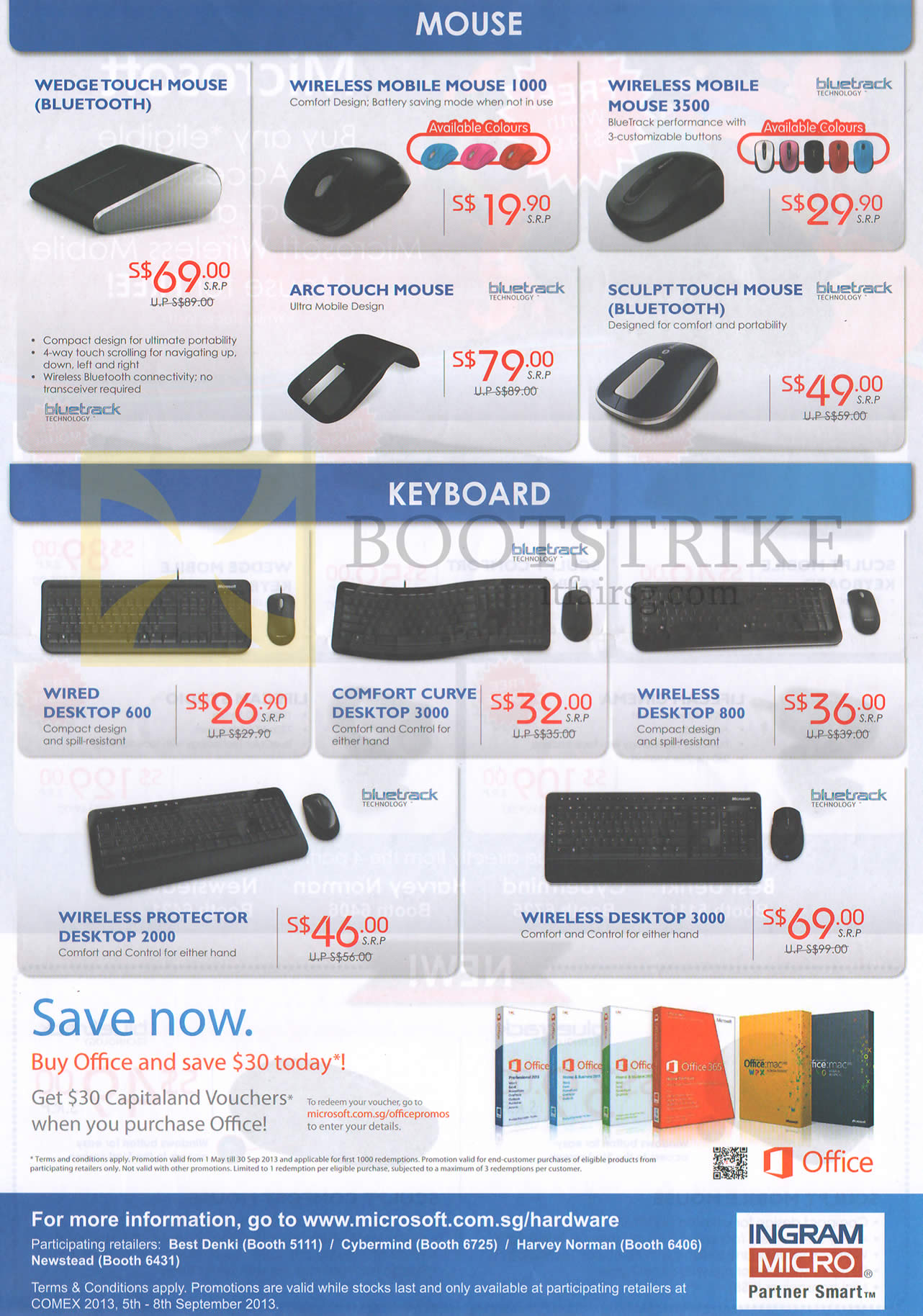 COMEX 2013 price list image brochure of Microsoft Mouse Wedge Tough, Mobile Mouse 1000, 3500, Arc Touch, Sculpt, Keyboard Wired Desktop 600, Comfort Curve, Protector, Office