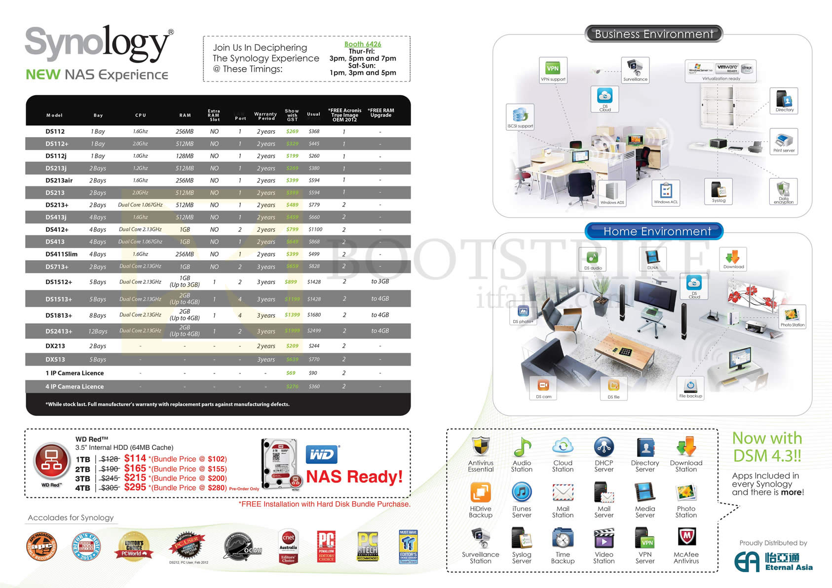 COMEX 2013 price list image brochure of Newstead Synology NAS DS112, DS112j, DS213, DS413, DS412, DS413, DS713, DS1512, DS1513, DS1813, DX23, DX513