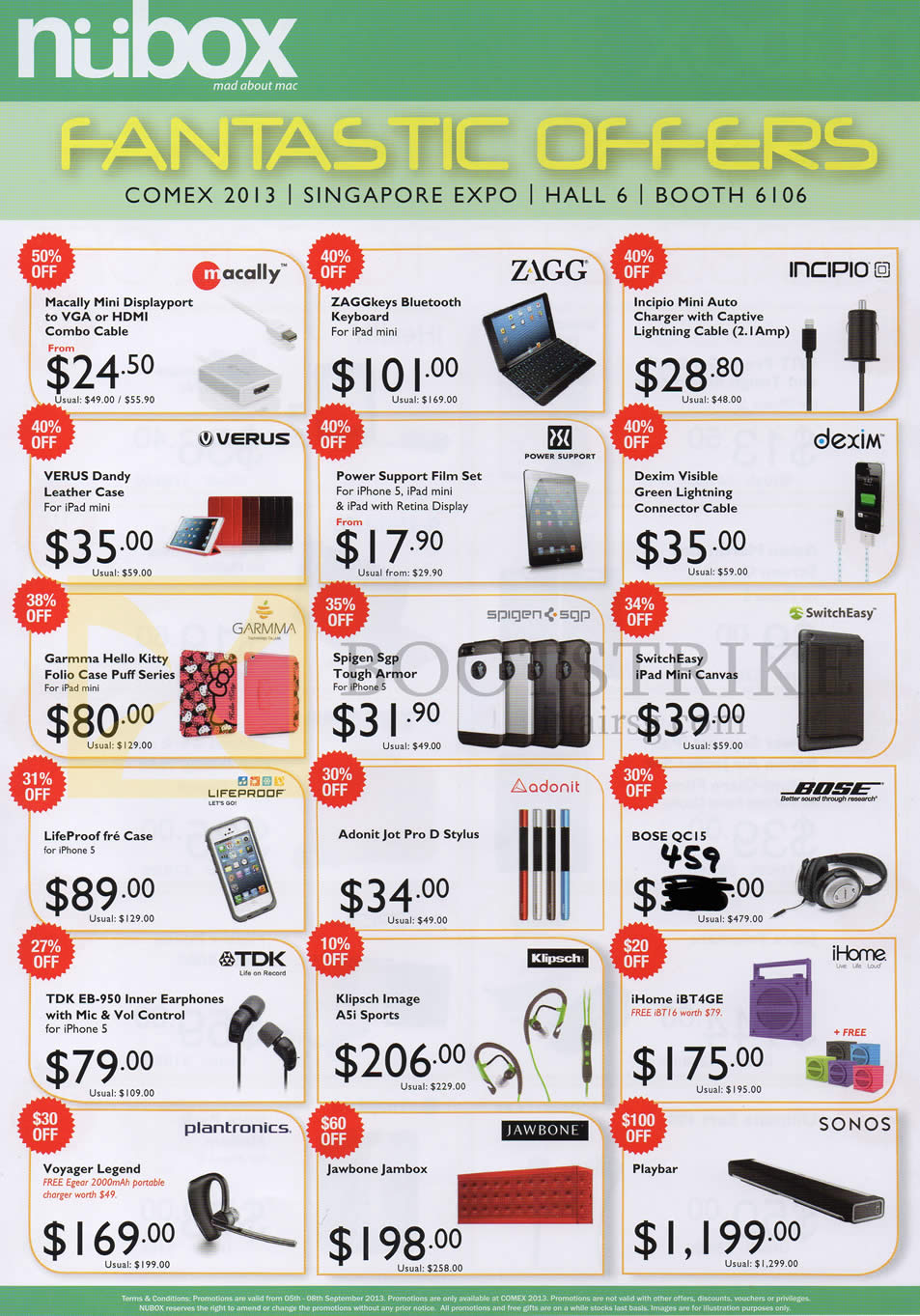 COMEX 2013 price list image brochure of Nubox Accessories Versus Case, Dexim, Bose QC15 Headphones, TDK EB-950 Earphones, Klipsch, Voyager, Jawbone