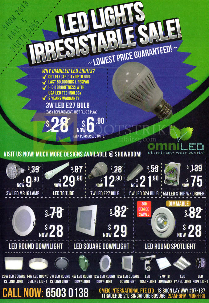 COMEX 2013 price list image brochure of Omeio LED Lights Bulb, Tube, Downlight, Spotlight