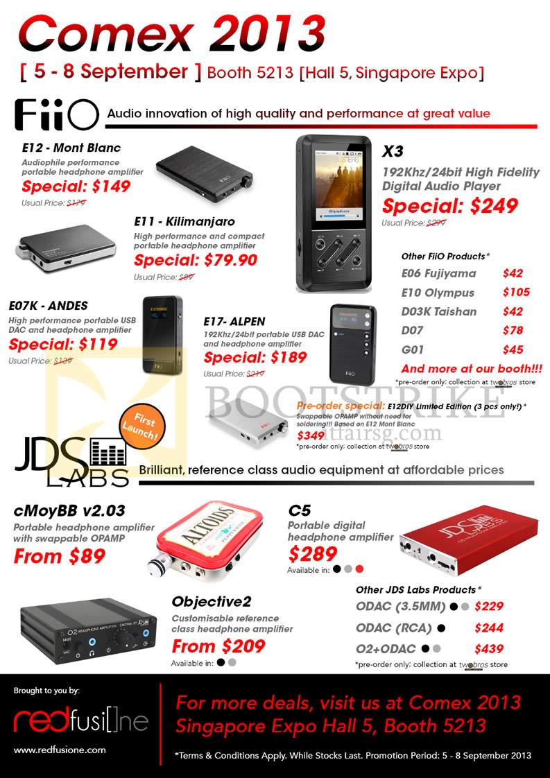 COMEX 2013 price list image brochure of Orange Comms RED Fusion One FiiO Portable Headphone Amplifiers E12, E11, E07K, E17, X3, JDS Labs CMoyBB, C5, Objective2