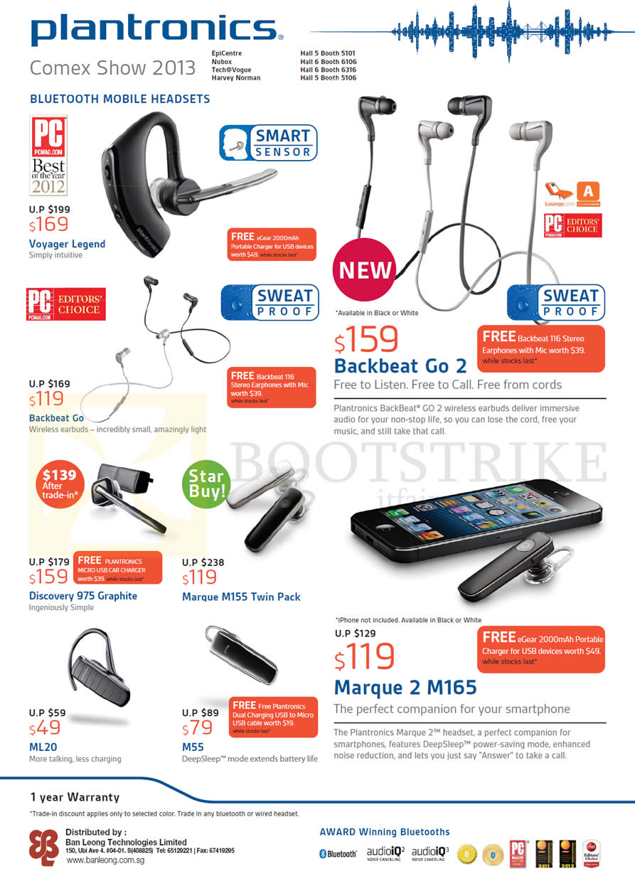 COMEX 2013 price list image brochure of Plantronics Bluetooth Headsets Price List BackBeat Go 2, Voyager Legend, Marque 2 M165, Discovery 975 Graphite, M55, ML20, M55