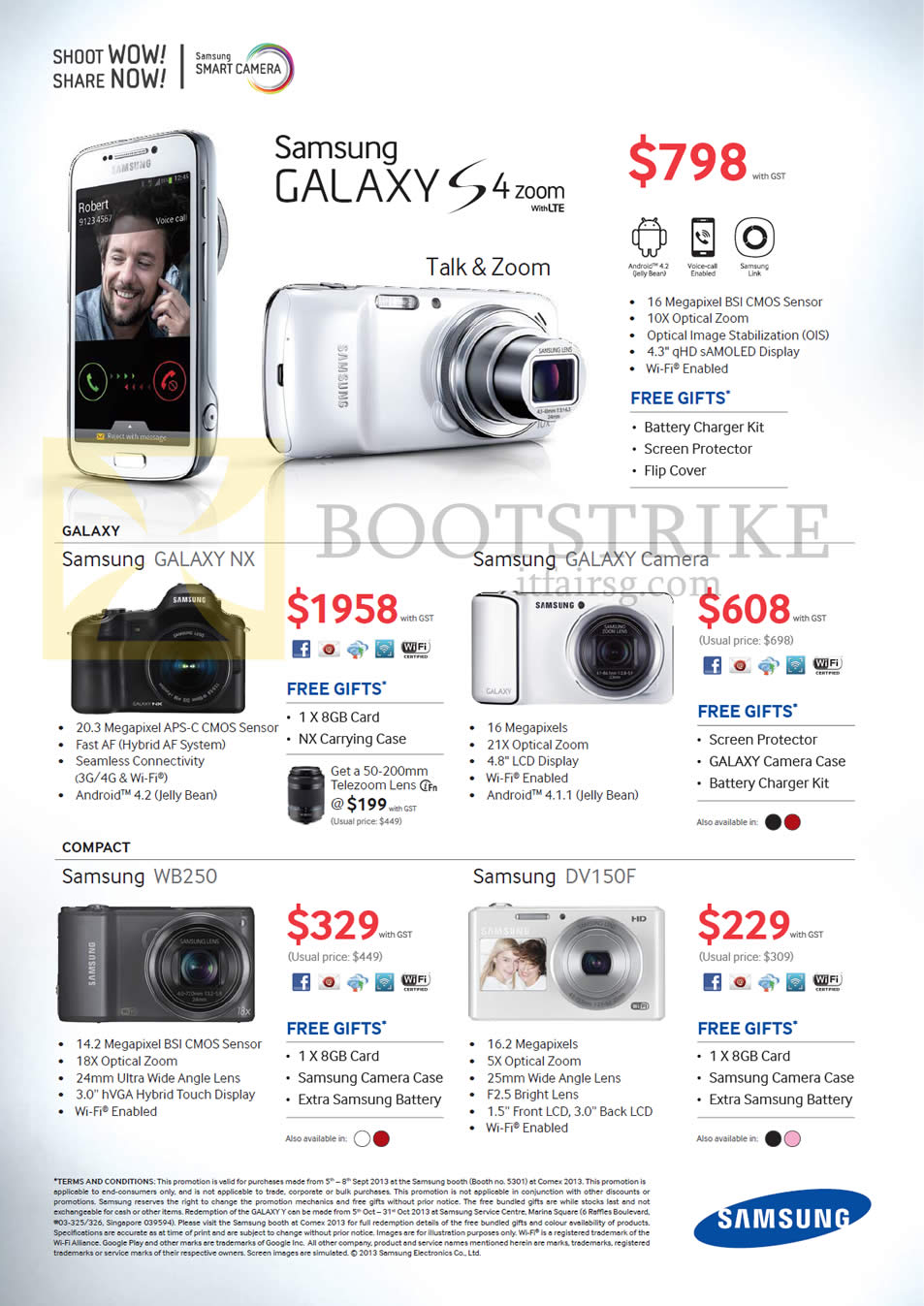 COMEX 2013 price list image brochure of Samsung Digital Cameras Galaxy S4 Zoom, Galaxy NX, Galaxy Camera, WB250, DV150F