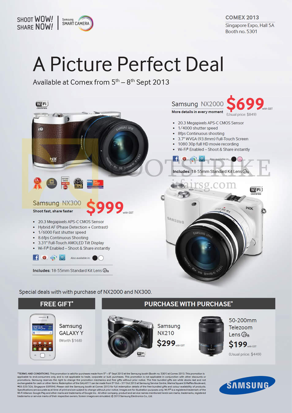 COMEX 2013 price list image brochure of Samsung Digital Cameras NX2000, NX300, Purchase With Purchase