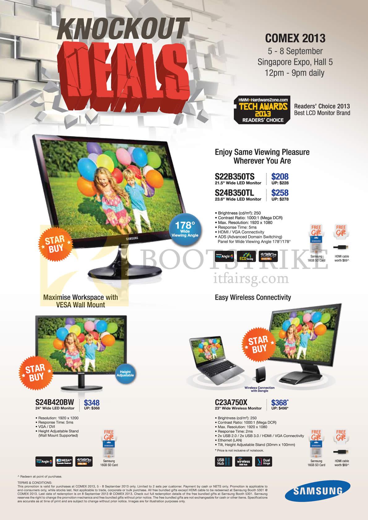 COMEX 2013 price list image brochure of Samsung Monitors S22B350TS S24B350TL S24B420BW C23A750X