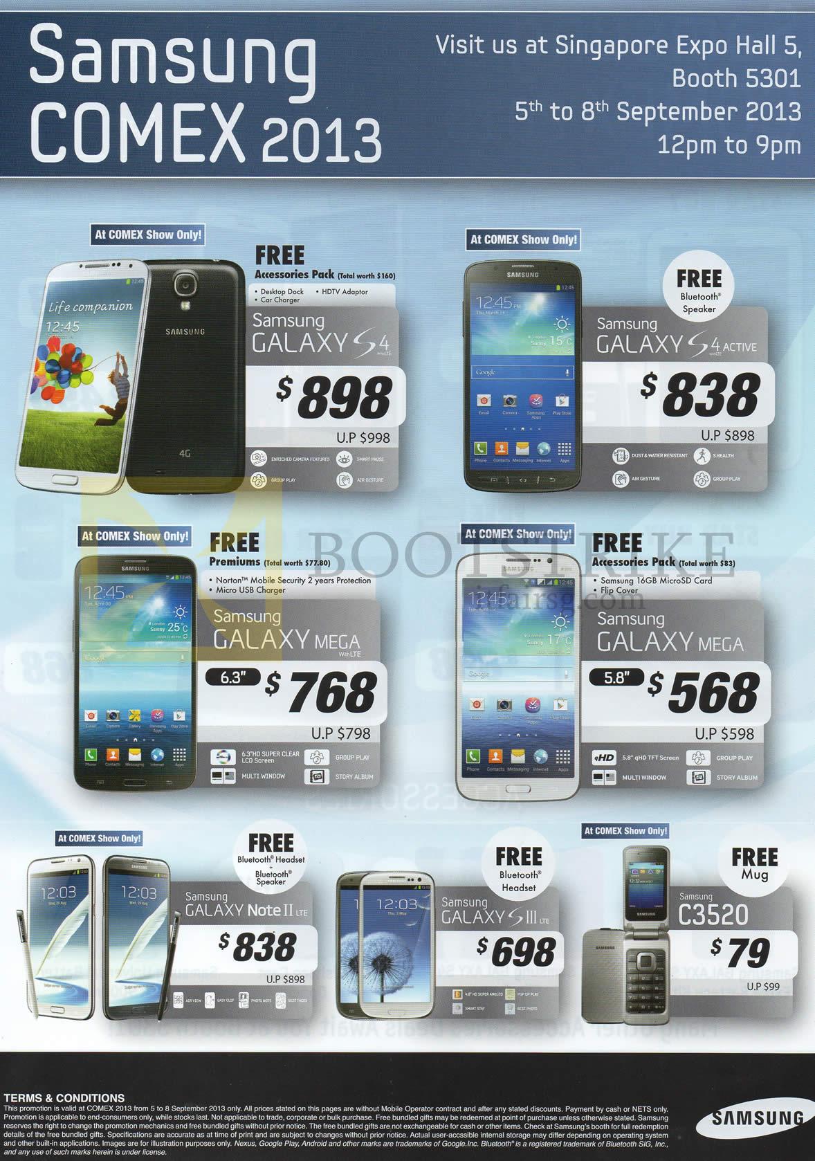 COMEX 2013 price list image brochure of Samsung Smartphones Galaxy S4, S4 Actve, Mega, Note II LTE, S III LTE, C3520