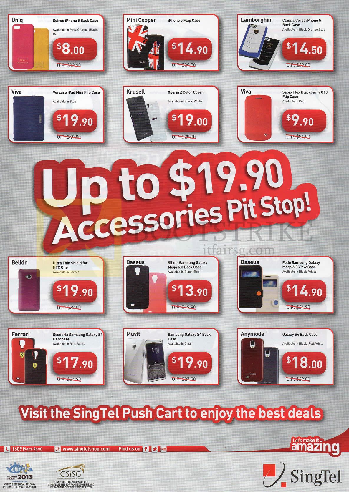 COMEX 2013 price list image brochure of Singtel Accessories Case, Cover, Uniq, Mini Cooper, Lamborghini, Baseus, Ferrari
