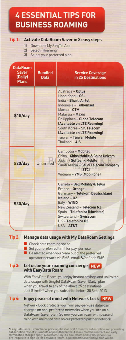 COMEX 2013 price list image brochure of Singtel Business Roaming DataRoam Saver Plans
