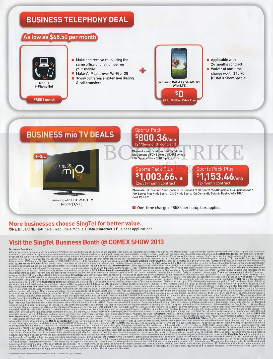 COMEX 2013 price list image brochure of Singtel Business Telephony, Mio TV