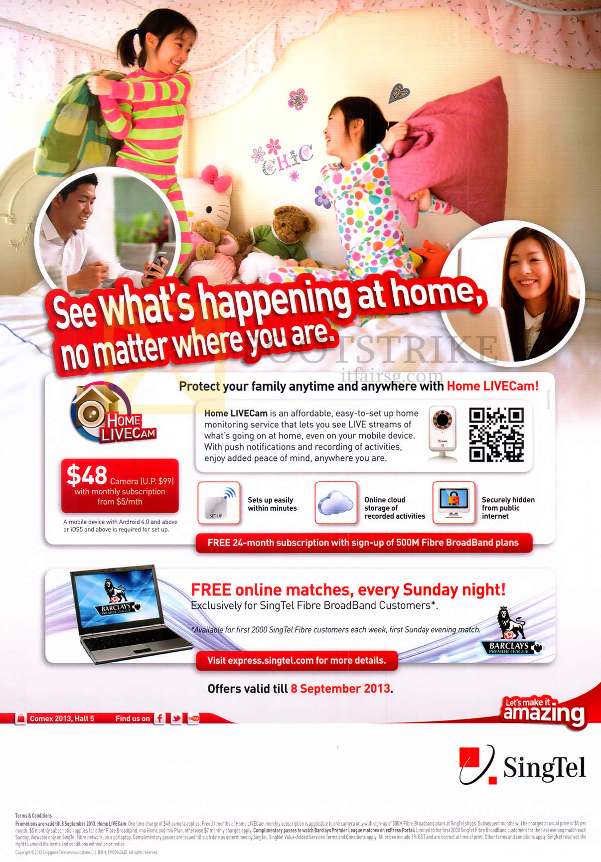 COMEX 2013 price list image brochure of Singtel Home LiveCam Home Monitoring Service