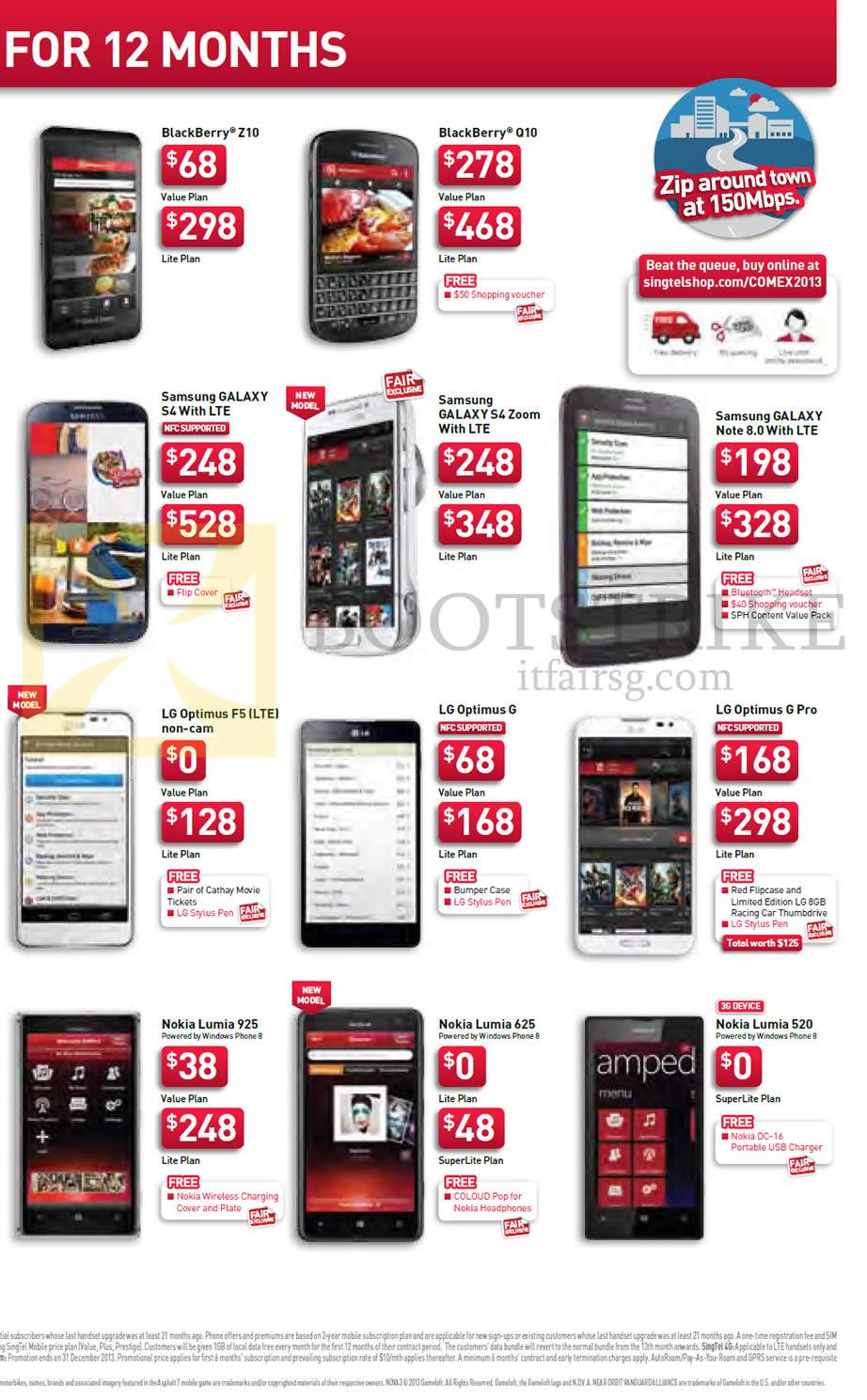 COMEX 2013 Price List Image Brochure Of Singtel Mobile Blackberry Z10 Q10 Samsung Galaxy