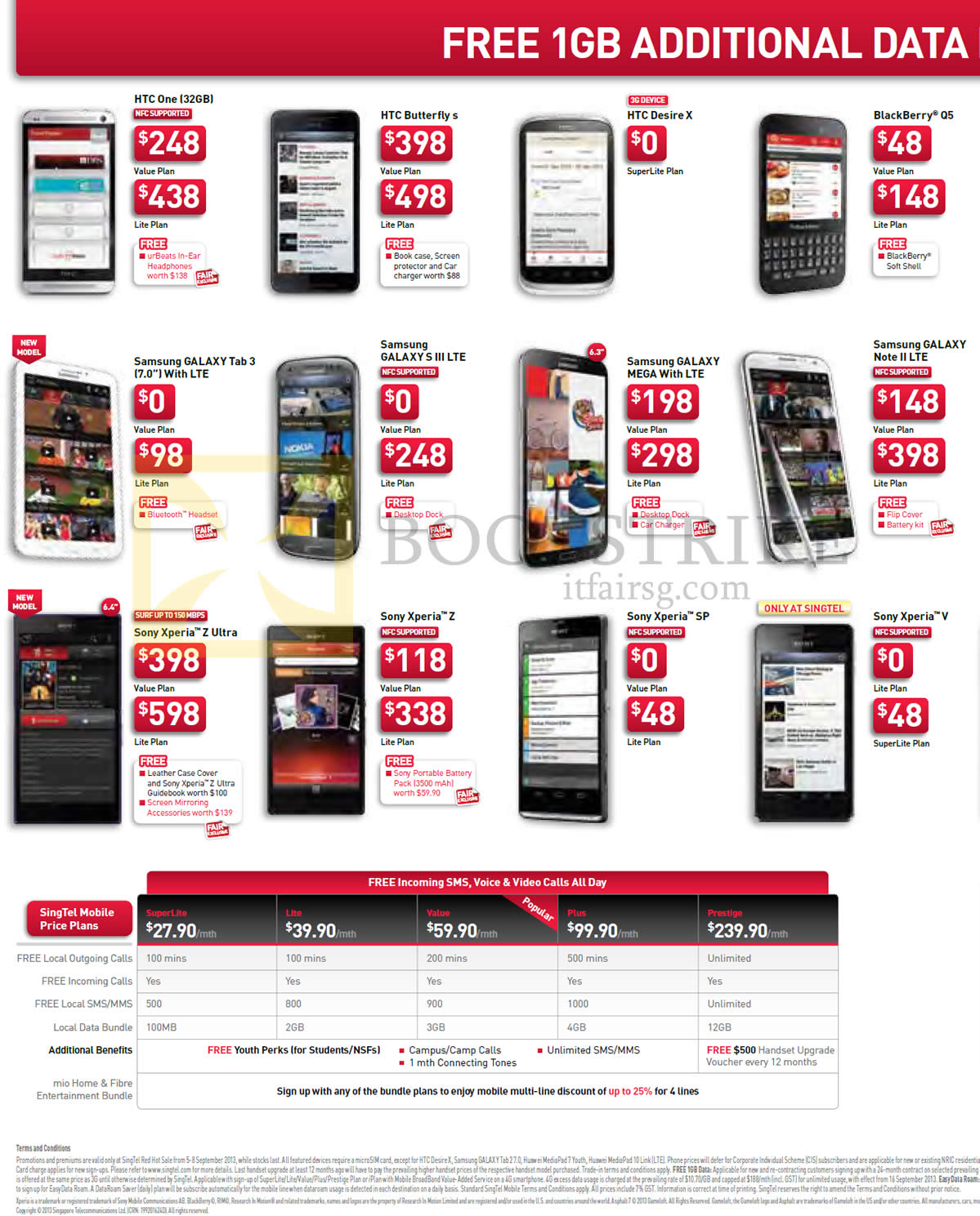 Singtel Mobile Htc One Butterfly S Desire X Blackberry Q5 Samsung Galaxy Tab 3 V Comex 2013 Price List Image Brochure Of