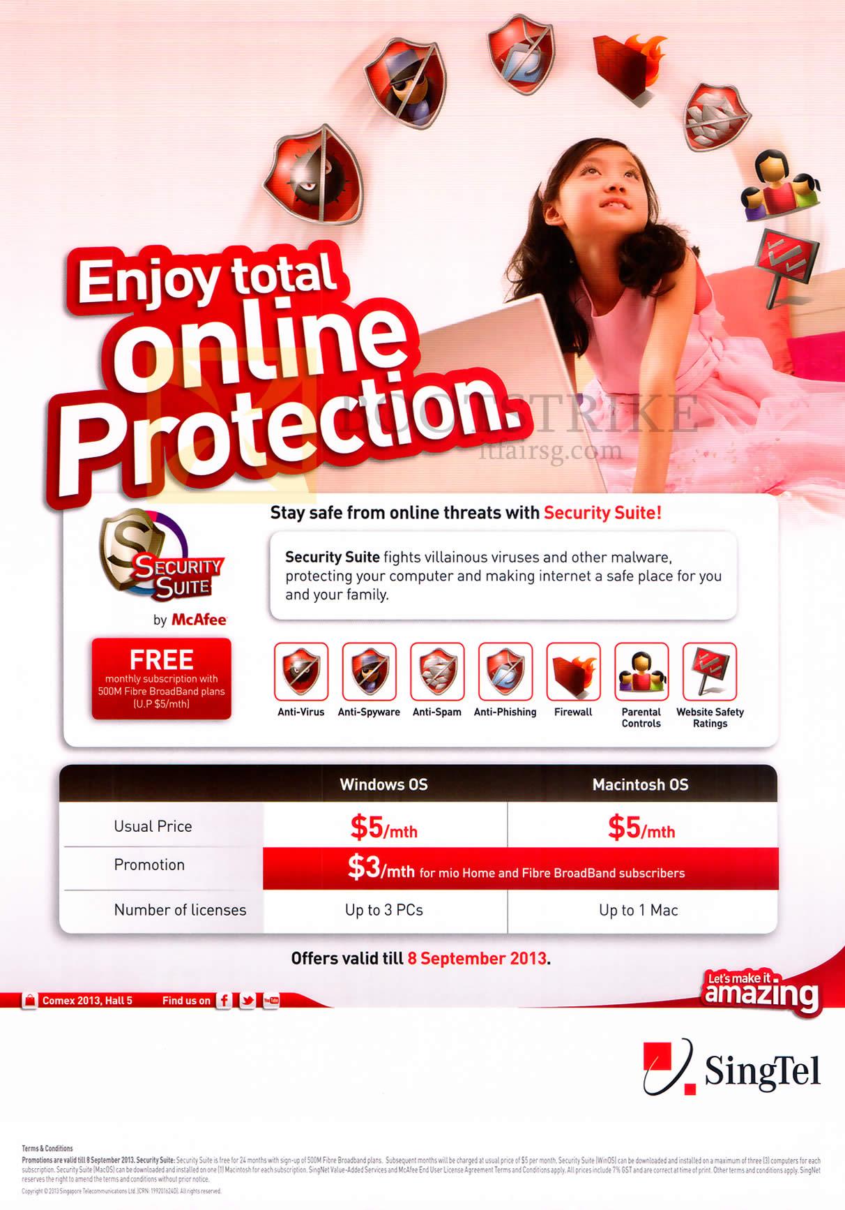 COMEX 2013 price list image brochure of Singtel Security Suite Mcafee, Windows, Mac