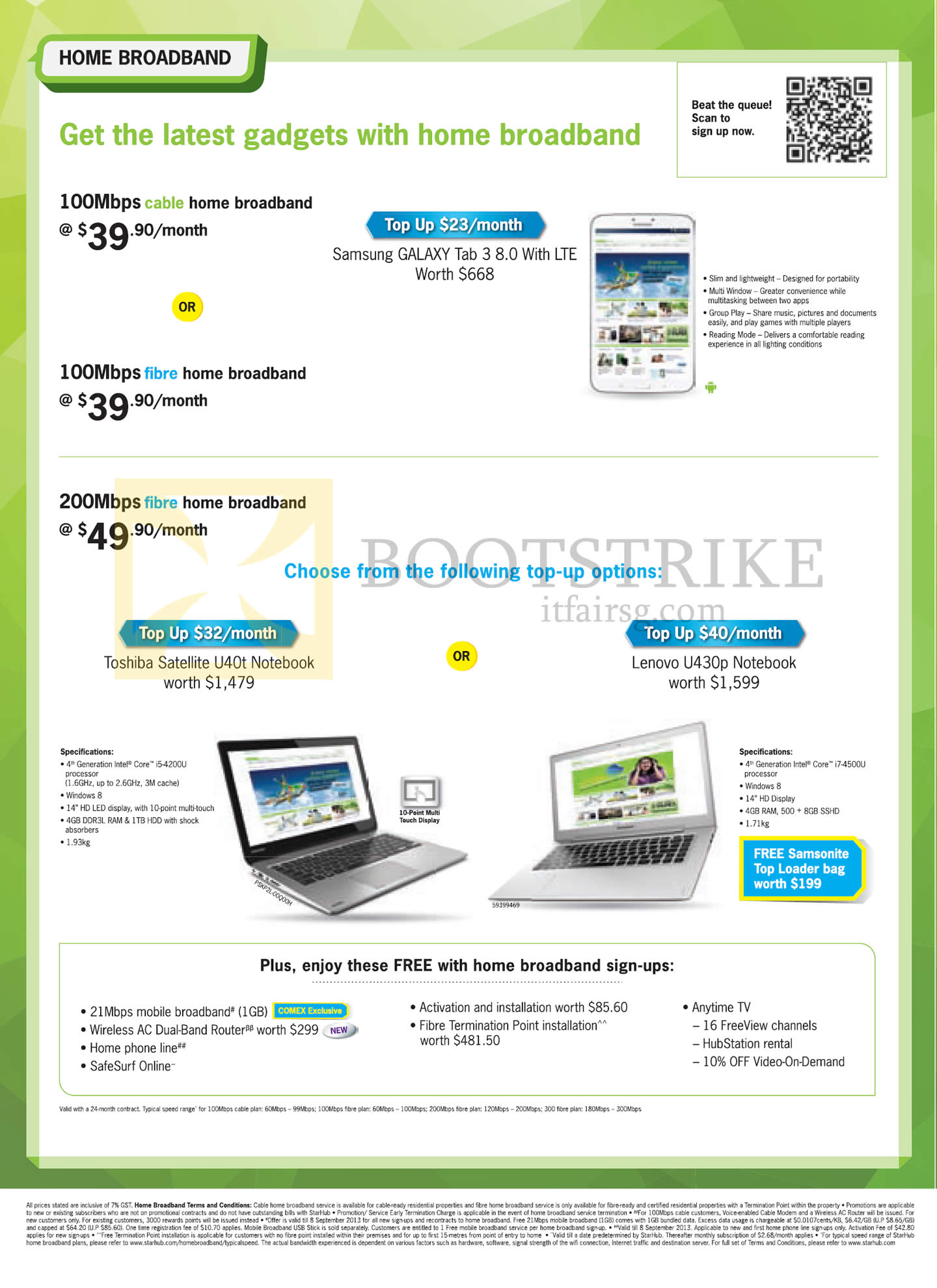 Samsung notebook in singapore - Comex 2013 Price List Image Brochure Of Starhub Broadband Cable 100mbps Samsung Galaxy Note 3
