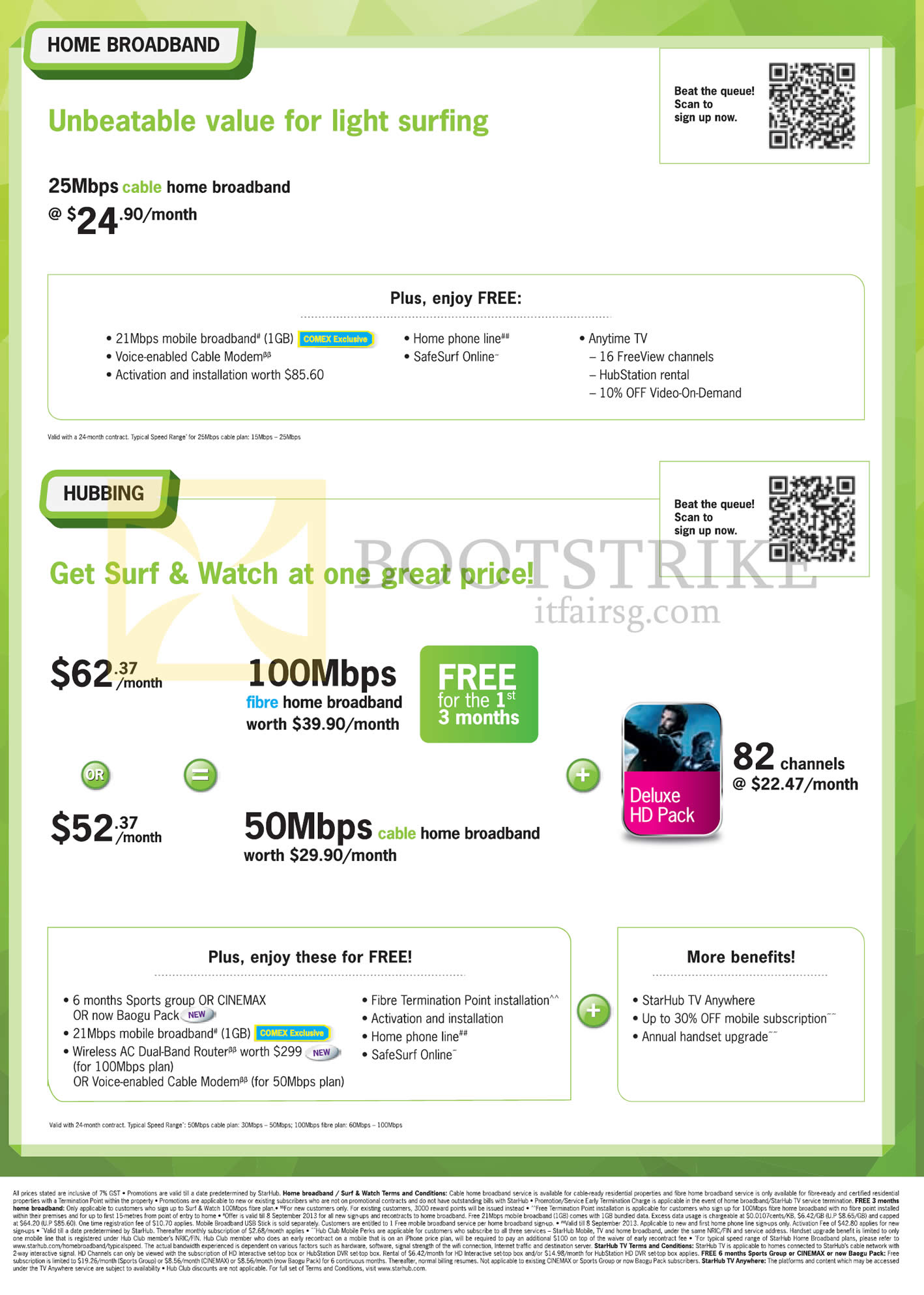 COMEX 2013 price list image brochure of Starhub Broadband Cable 25Mbps, Hubbing Surf N Watch Fibre 100Mbps, 50Mbps