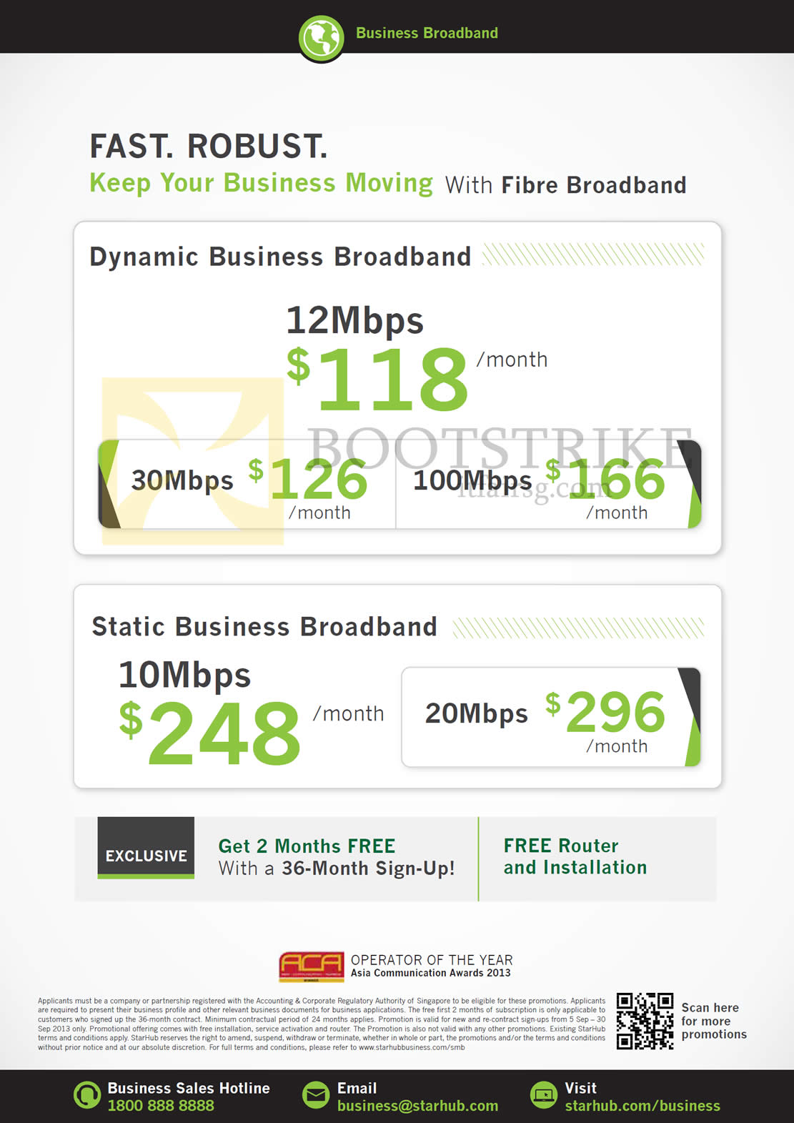 COMEX 2013 price list image brochure of Starhub Business Broadband Dynamic 12Mbps, Static 10Mbps