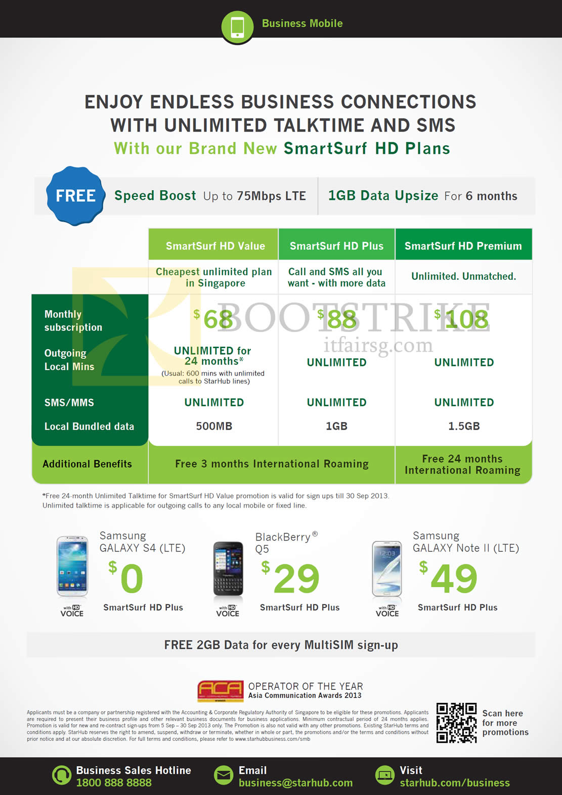 COMEX 2013 price list image brochure of Starhub Business Mobile Plans SmartSurf HD Value Plus Premium, Samsung Galaxy S4, Note II, Blackberry Q5