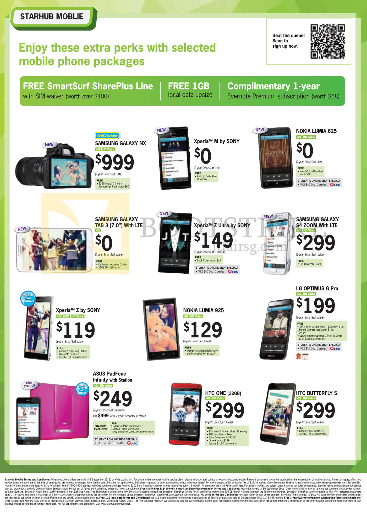 COMEX 2013 price list image brochure of Starhub Mobile Samsung Galaxy NX, Tab 3 7.0, S4 Zoom, Sony Xperia M, Xperia Z, Nokia Lumia 625, 925, LG Optimus G Pro, ASUS PadFone Infinity, HTC One, Buttefly S