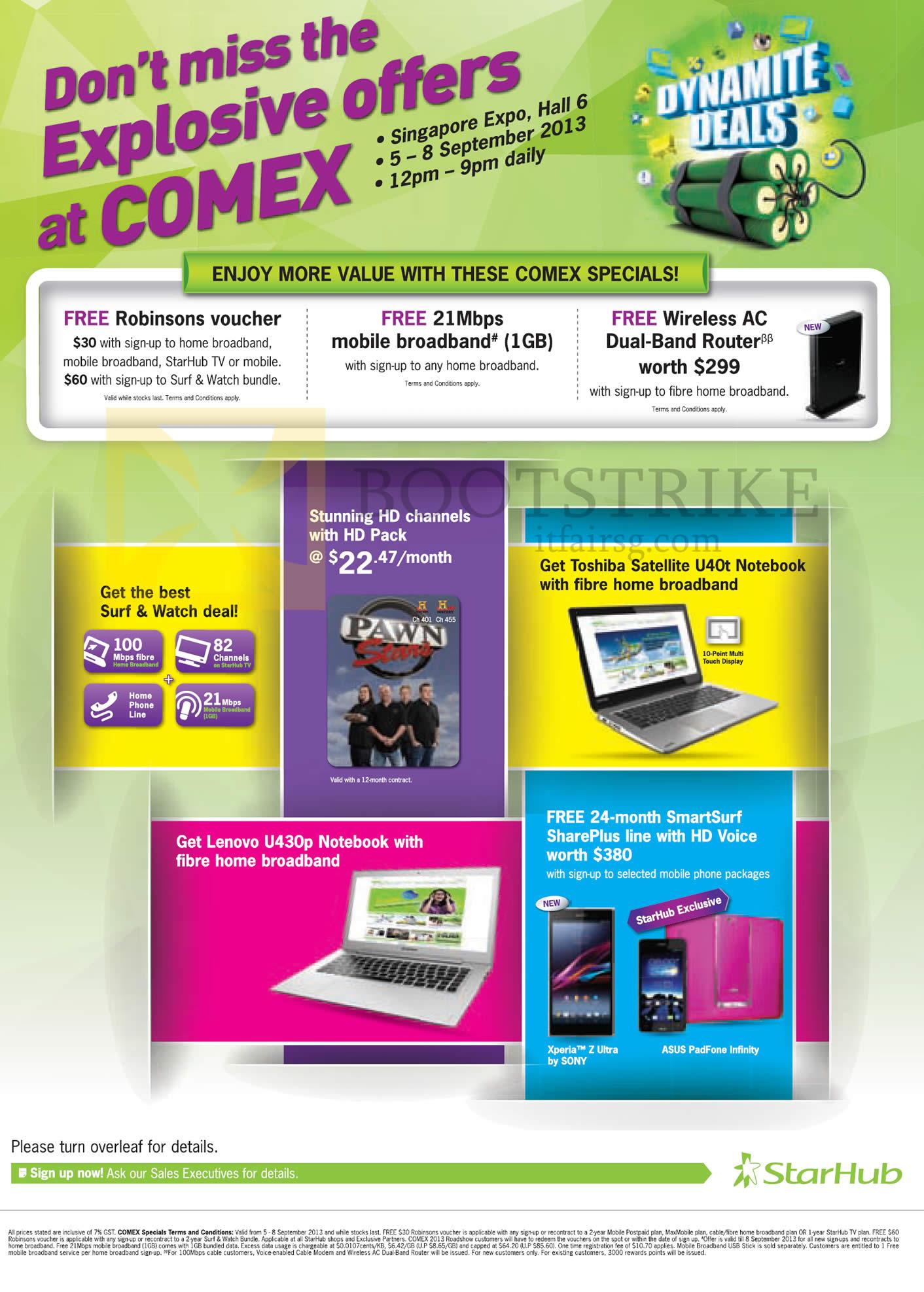 COMEX 2013 price list image brochure of Starhub Roadshow Specials, Free Robinsons Vouchers, Free 21Mbps Mobile Broadband, Free Wireless AC Router, Toshiba Satellite U40t, Lenovo U430p Notebook