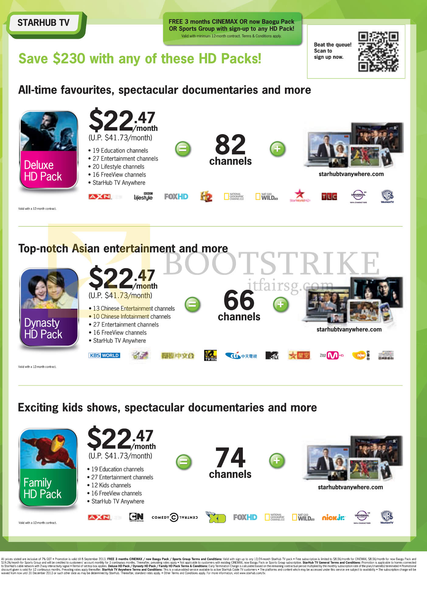 COMEX 2013 price list image brochure of Starhub TV Cable Deluxe HD Pack, Dynasty HD Pack, Family HD Pack