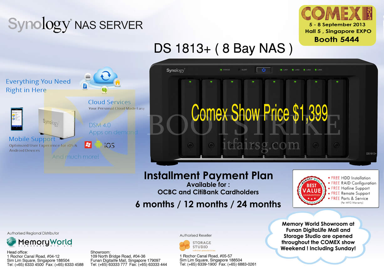 COMEX 2013 price list image brochure of Synology Memory World NAS DS1813 Plus 8 Bay NAS