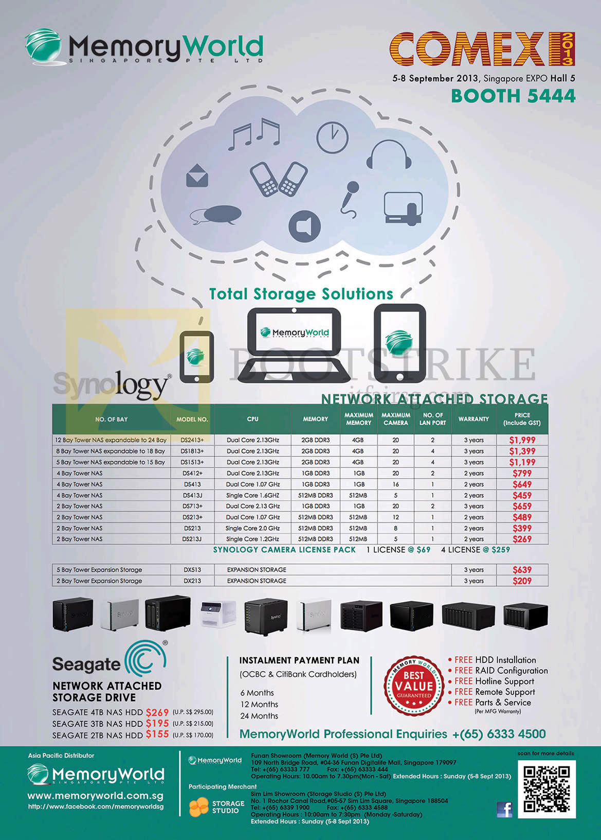 COMEX 2013 price list image brochure of Synology Memory World NAS DS2413, DS1813, DS1513, DS412, DS413, DS713, DS213, DS513, DX213