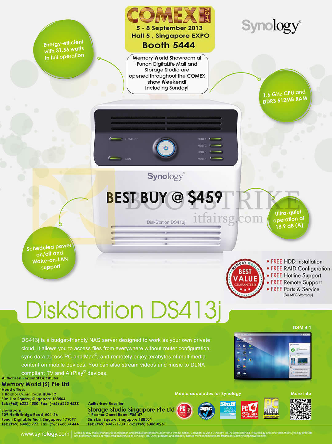 COMEX 2013 price list image brochure of Synology NAS DiskStation DS413j