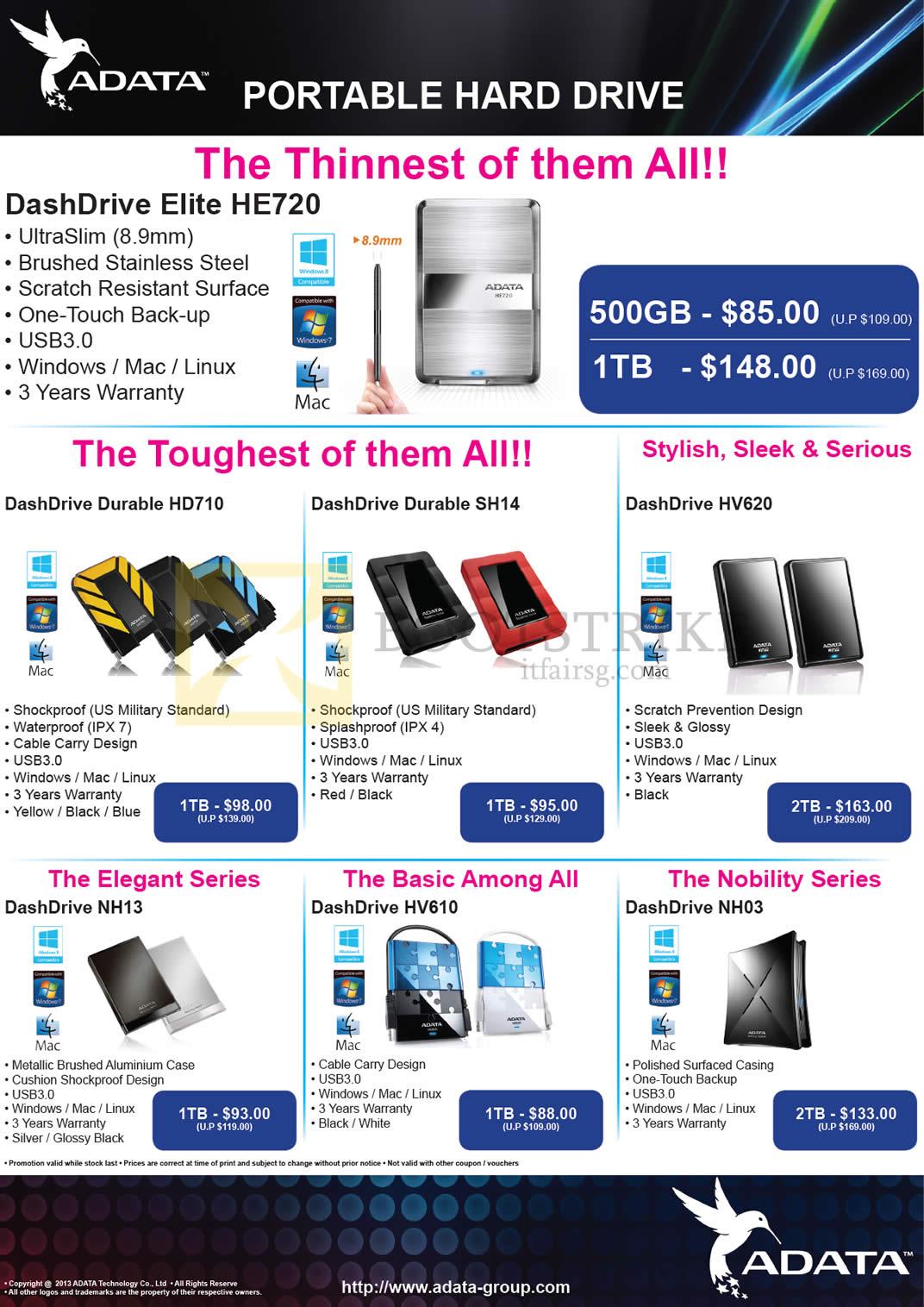 COMEX 2013 price list image brochure of The Perpetuity Adata External Storage DashDrive Elite HE720, Durable HD710, SH14, HV620, NH13, HV610, NH03 1TB 2TB