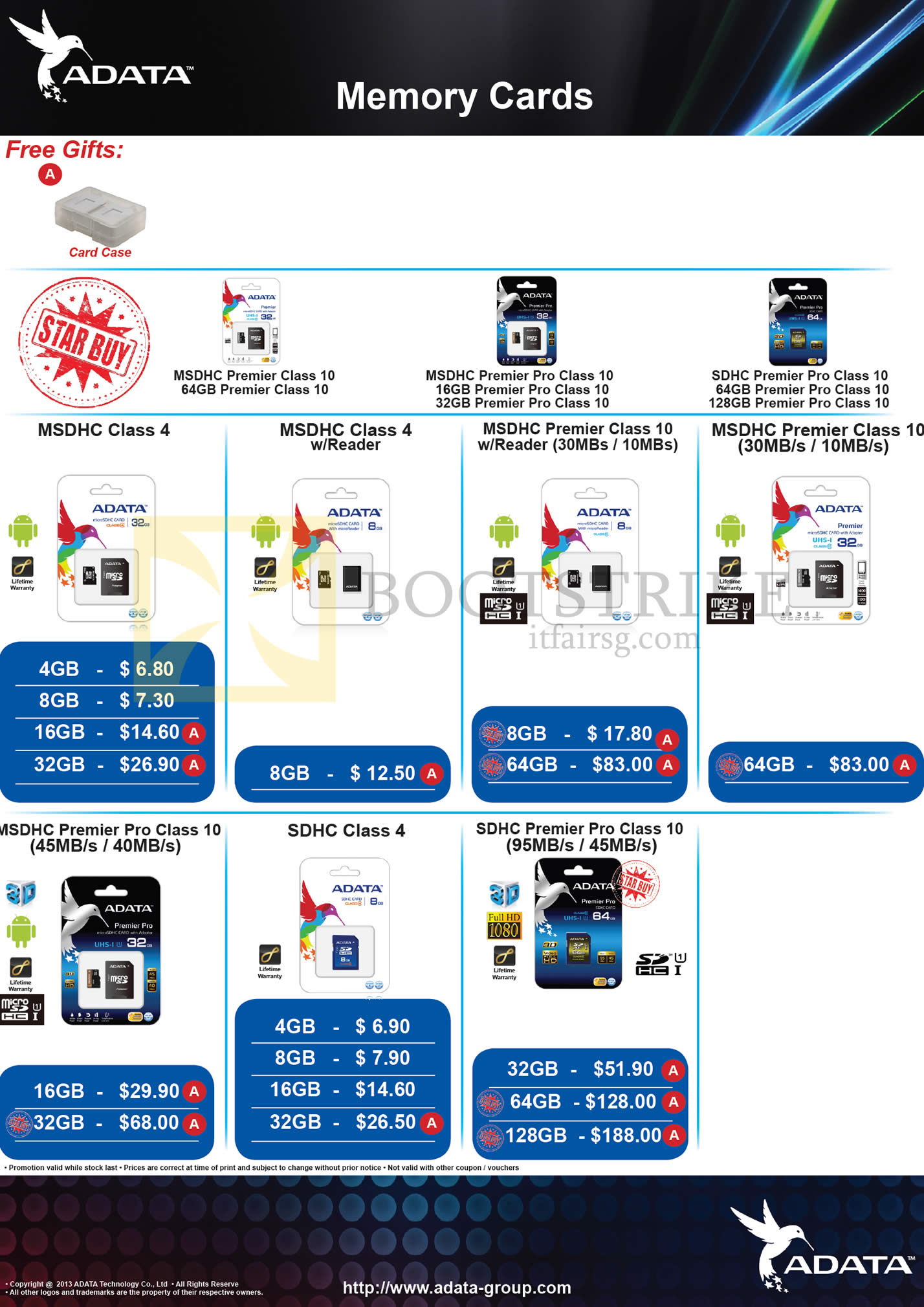 COMEX 2013 price list image brochure of The Perpetuity Adata Flash Memory MSDHC, SDHC