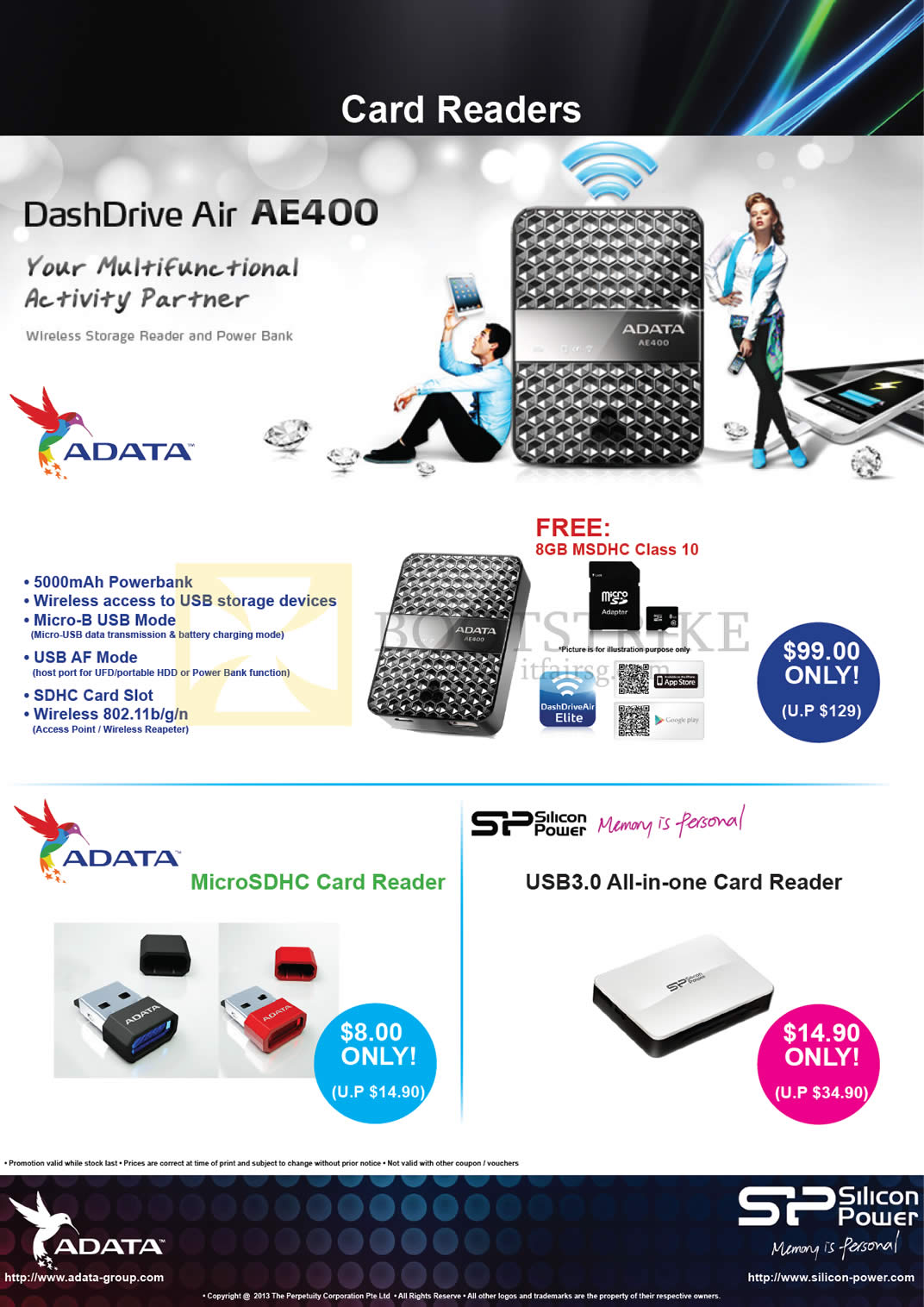 COMEX 2013 price list image brochure of The Perpetuity Silicon Power Adata DashDrive Air AE400 Power Bank External Charger, MicroSDHC Card Reader, USB