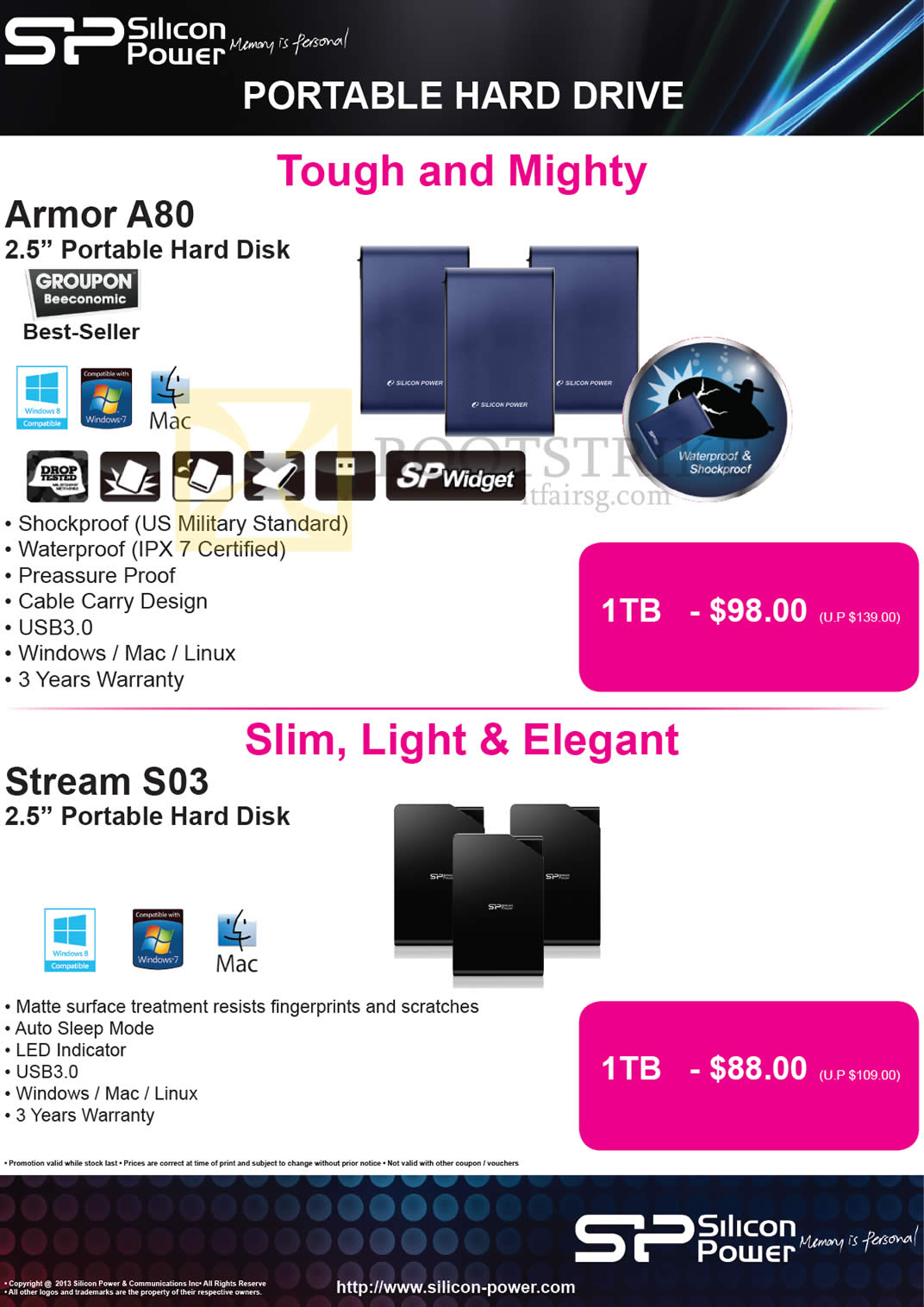 COMEX 2013 price list image brochure of The Perpetuity Silicon Power External Storage Armor A80 1TB, Stream S03