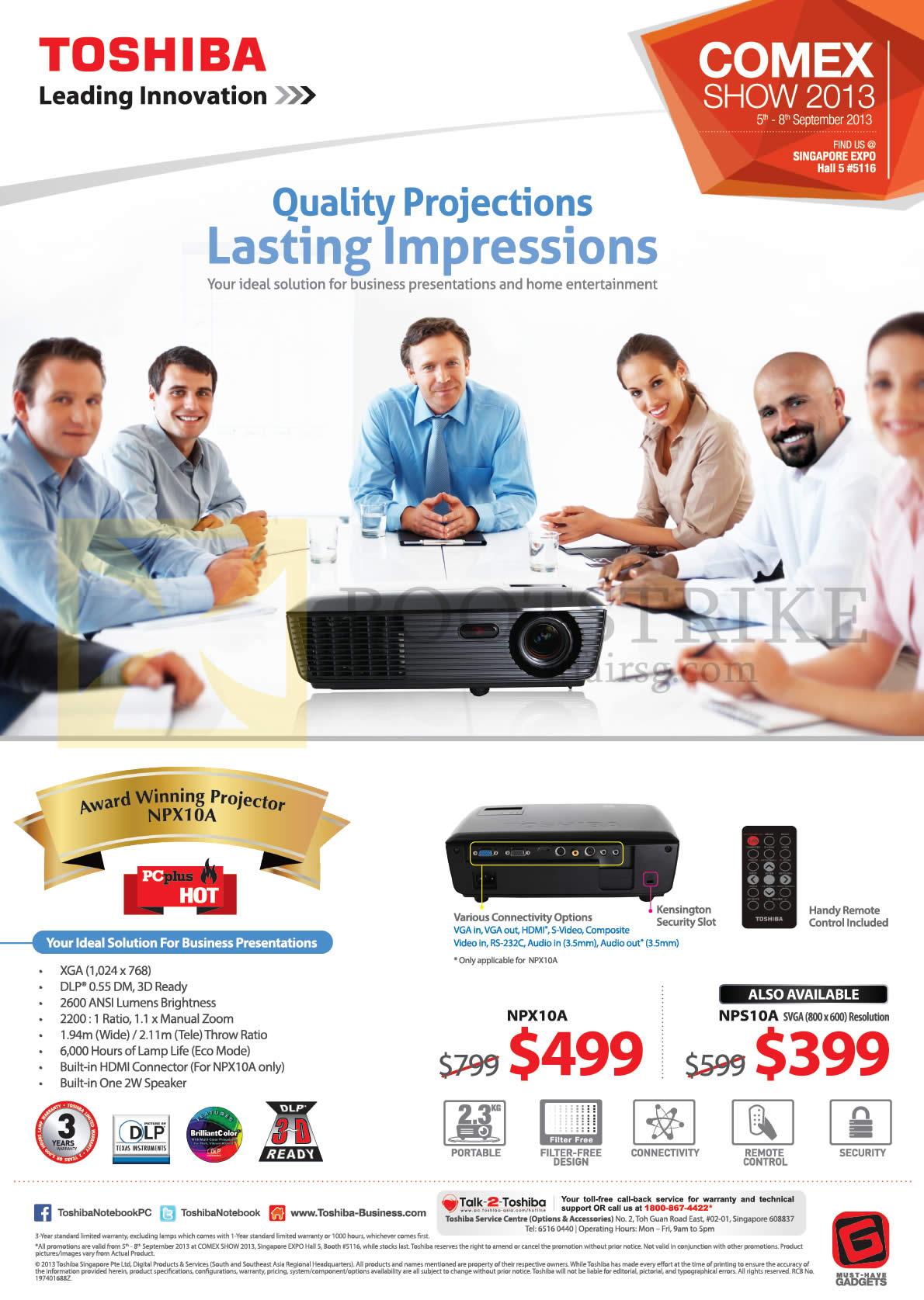 COMEX 2013 price list image brochure of Toshiba Projectors NPX10A, NPS10A