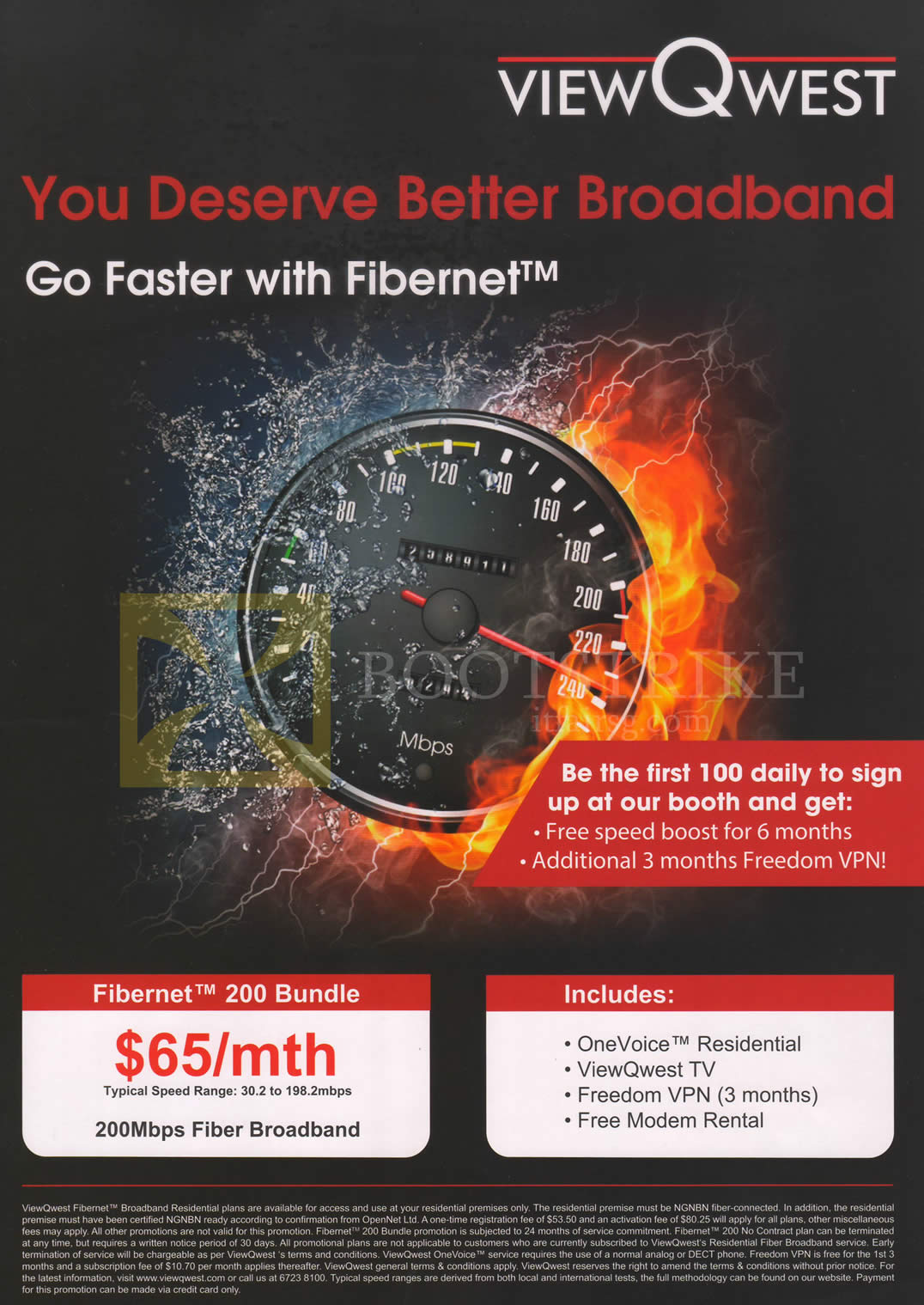 COMEX 2013 price list image brochure of ViewQwest Broadband Fibernet 200 Bundle, First 100 Special