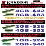 Kingston RAM Memory DDR3, DDR2